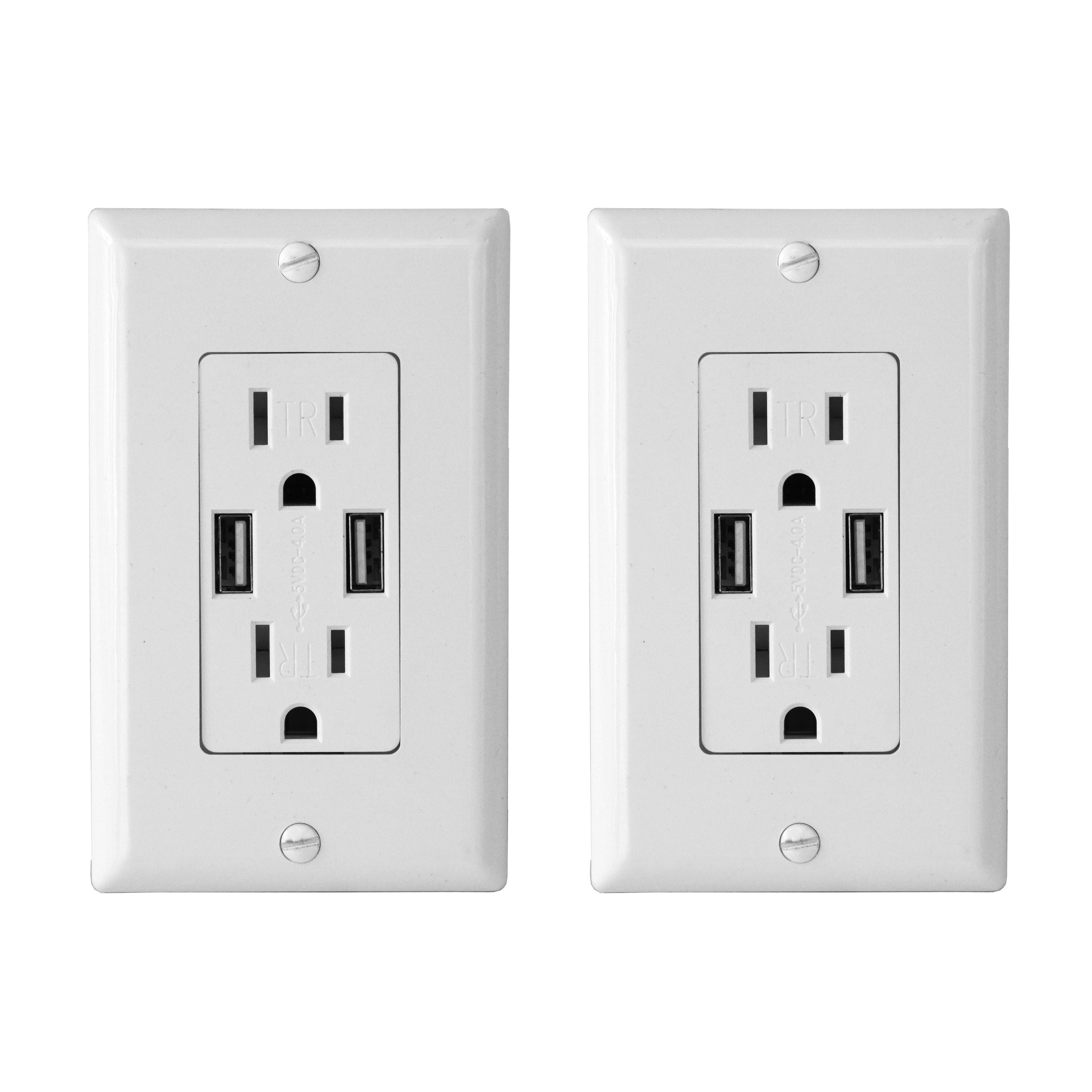 shop electric wall outlet with usb charger 4 0a charging capability rh overstock com