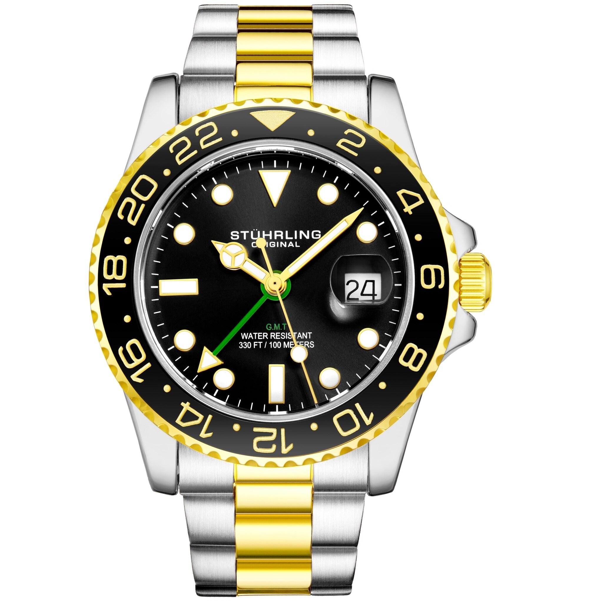 Shop Stuhrling Original Men S Gmt Stainless Steel Bracelet Watch