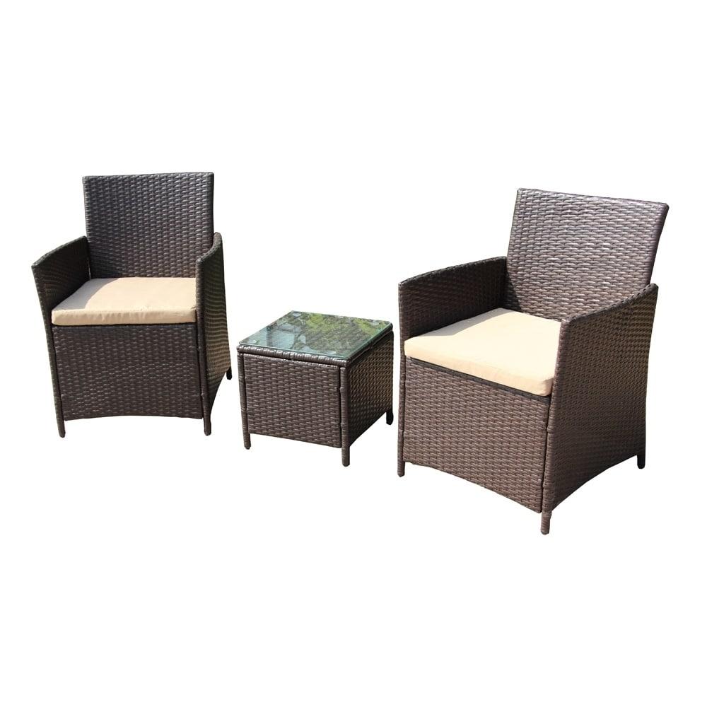 Aleko outdoor rattan furniture 3 piece set brown with cream cushions