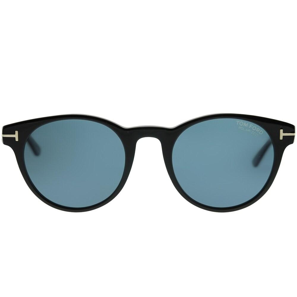 b33595c6ed Shop Tom Ford Round TF 522 Palmer 01V Unisex Shiny Black Frame Blue  Polarized Lens Sunglasses - Free Shipping Today - Overstock - 22835487