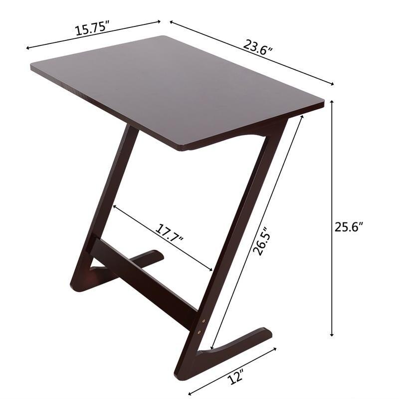 Shop Z L Shape Wood Pc Laptop Tv Coffee Tray Sofa Side End Table 2