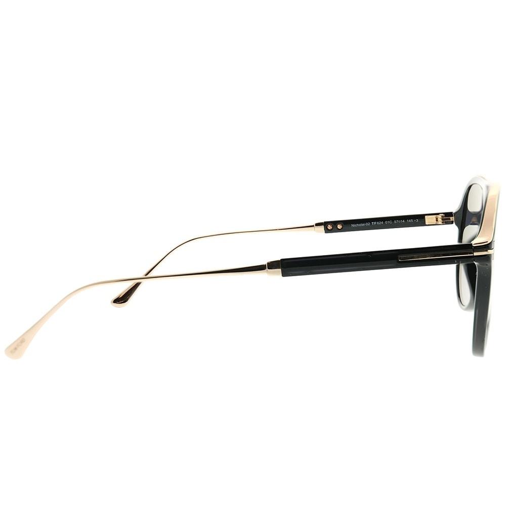 8ac2a9819e Shop Tom Ford Aviator TF 624 Nicholai 01C Unisex Shiny Black Frame Grey  Mirror Lens Sunglasses - Free Shipping Today - Overstock - 22846188