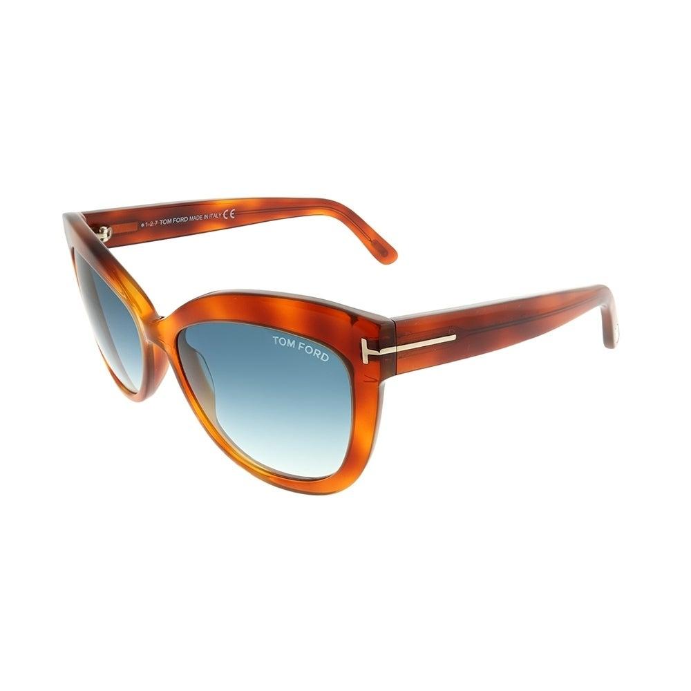 b477dcf0966 Shop Tom Ford Cat-Eye TF 524 Alistair 53W Unisex Blonde Havana Frame Blue  Gradient Lens Sunglasses - Ships To Canada - Overstock.ca - 22846195