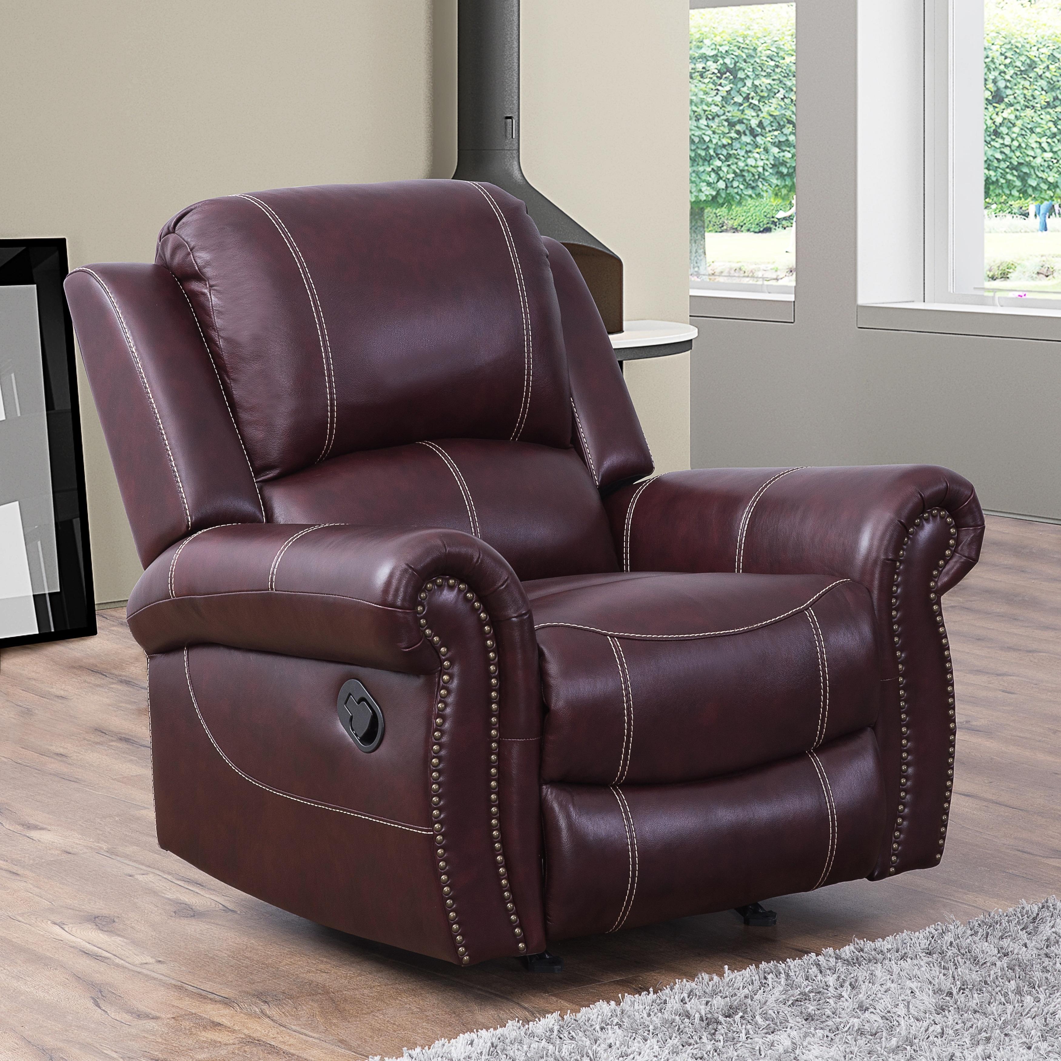 Shop Abbyson Winston Burgundy Top Grain Leather Reclining Armchair