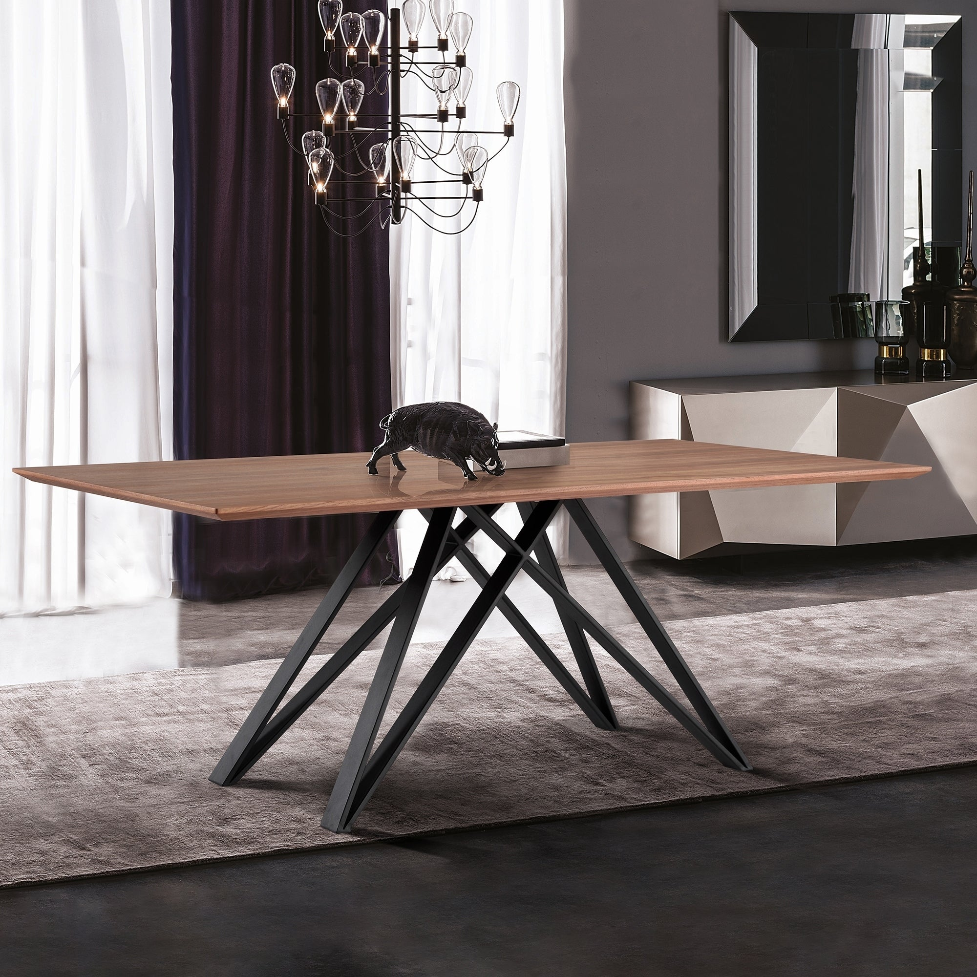 Modena contemporary dining table in matte black finish and walnut wood top brown