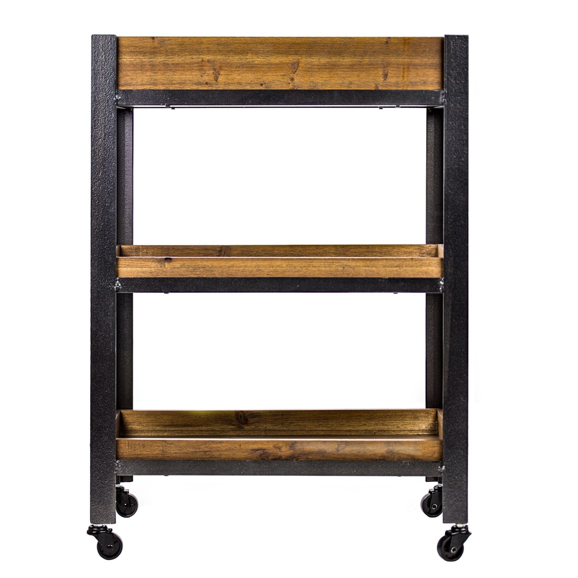 Shop Wood Metal Rolling Storage Cart With Shelves   Farmhouse Furniture    Free Shipping Today   Overstock.com   22851890