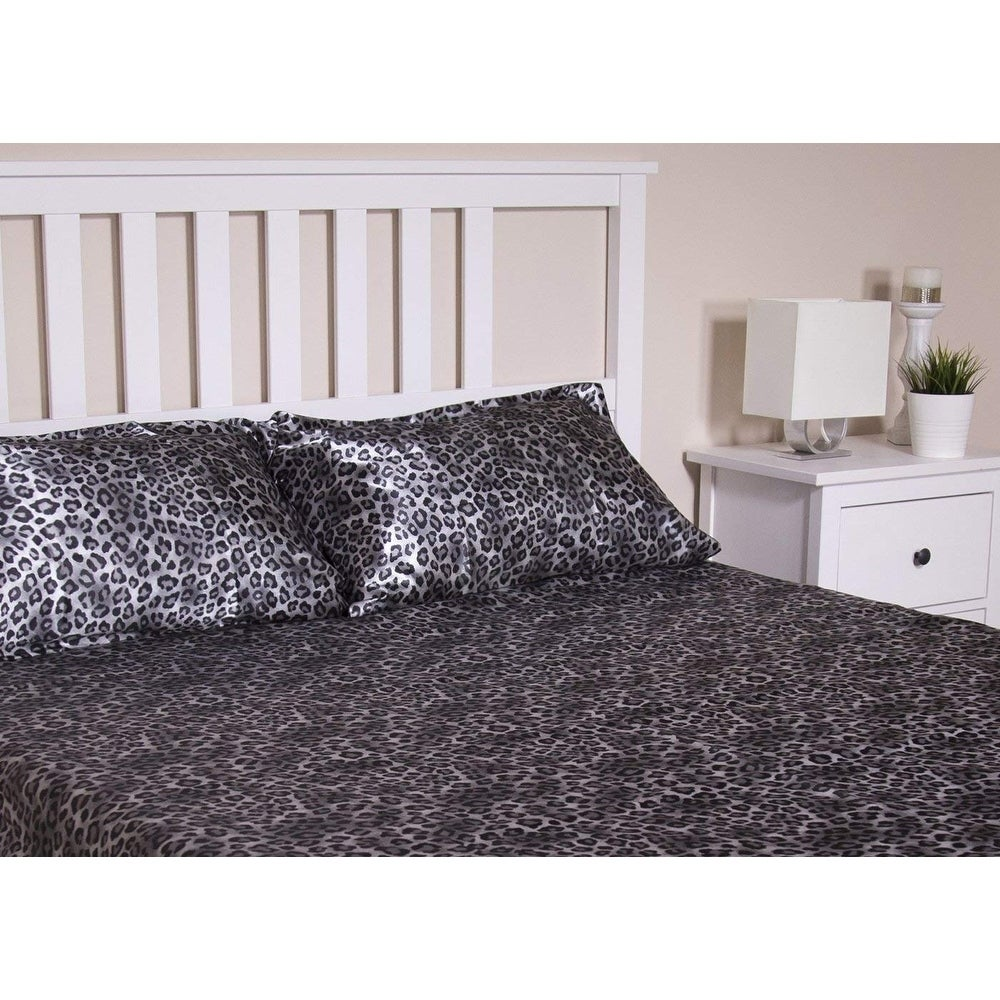 Shop Honeymoon Queen Sheet Set Luxury Silkily Like Satin Bed Sheets,  Leopard   Free Shipping On Orders Over $45   Overstock.com   22853307
