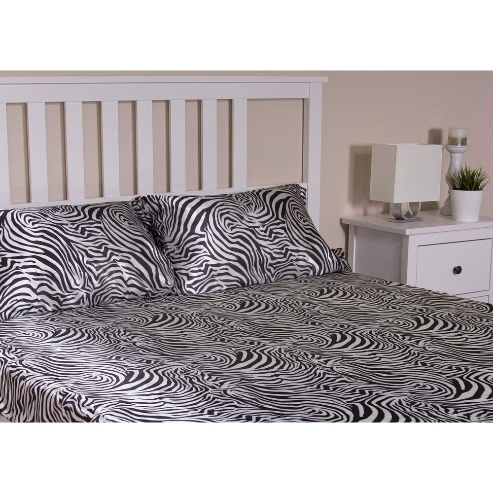Shop Honeymoon Queen Sheet Set Luxury Silkily Like Satin Bed Sheets, Zebra    Free Shipping On Orders Over $45   Overstock.com   22853310