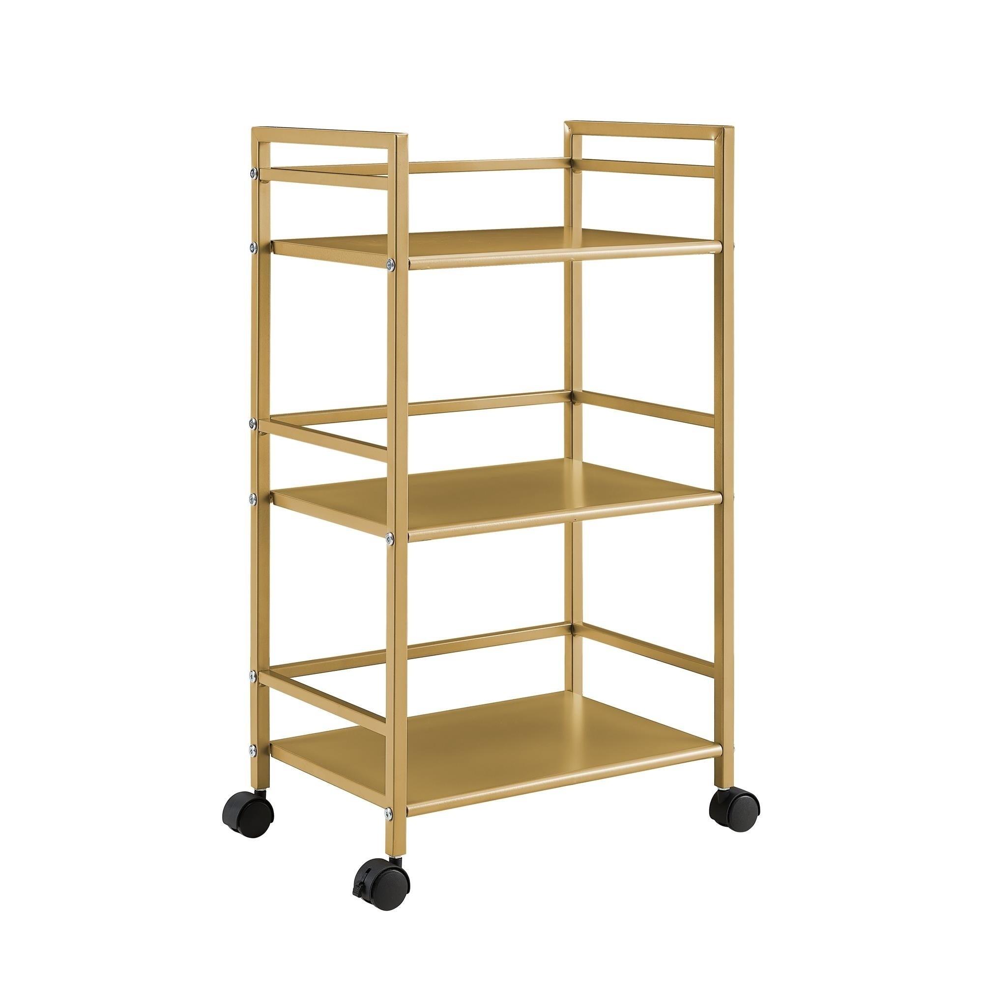 shop novogratz helix 3 shelf metal rolling utility cart in gold free shipping today overstockcom 22858850 - Rolling Utility Cart