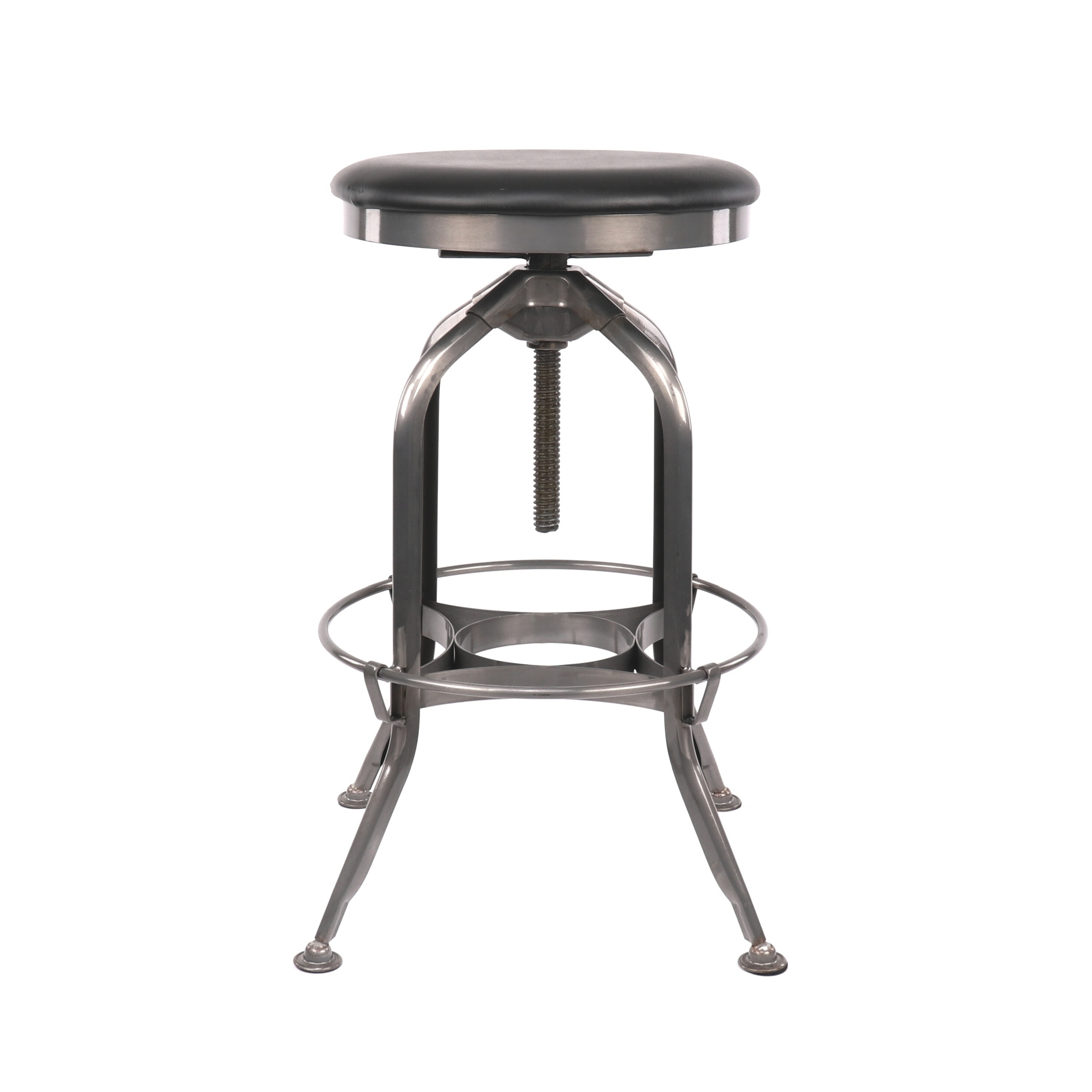 Shop Toledo Adjustable Gunmetal Padded Black Seat Steel Barstool 25