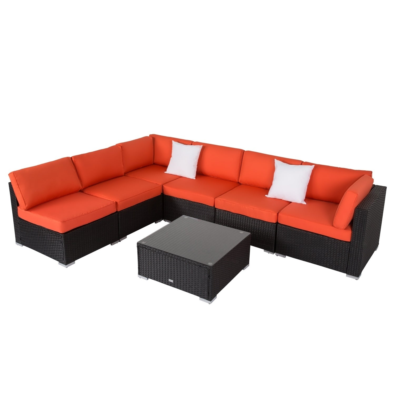 Kinbor 7 Piece Outdoor Furniture Set All Weather Patio Sectional Sofa Wicker With Cushions On Free Shipping Today