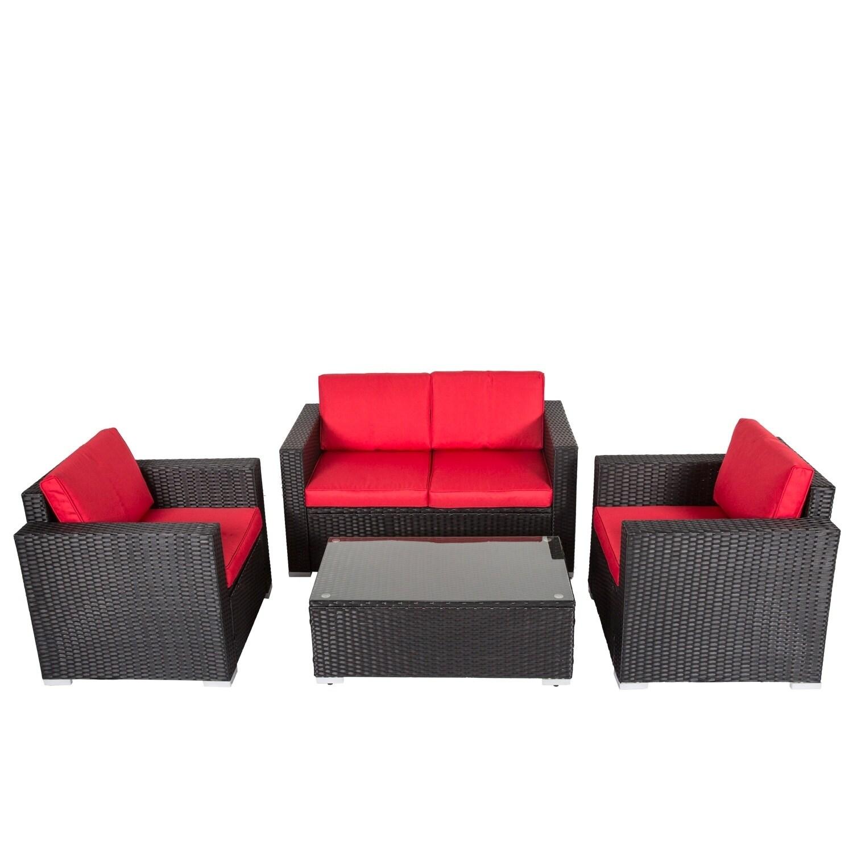 Kinbor 4 Pcs Pe Rattan Sofas Outdoor Lawn Patio Pool Garden Furniture Set W Cushions On Free Shipping Today 22862950