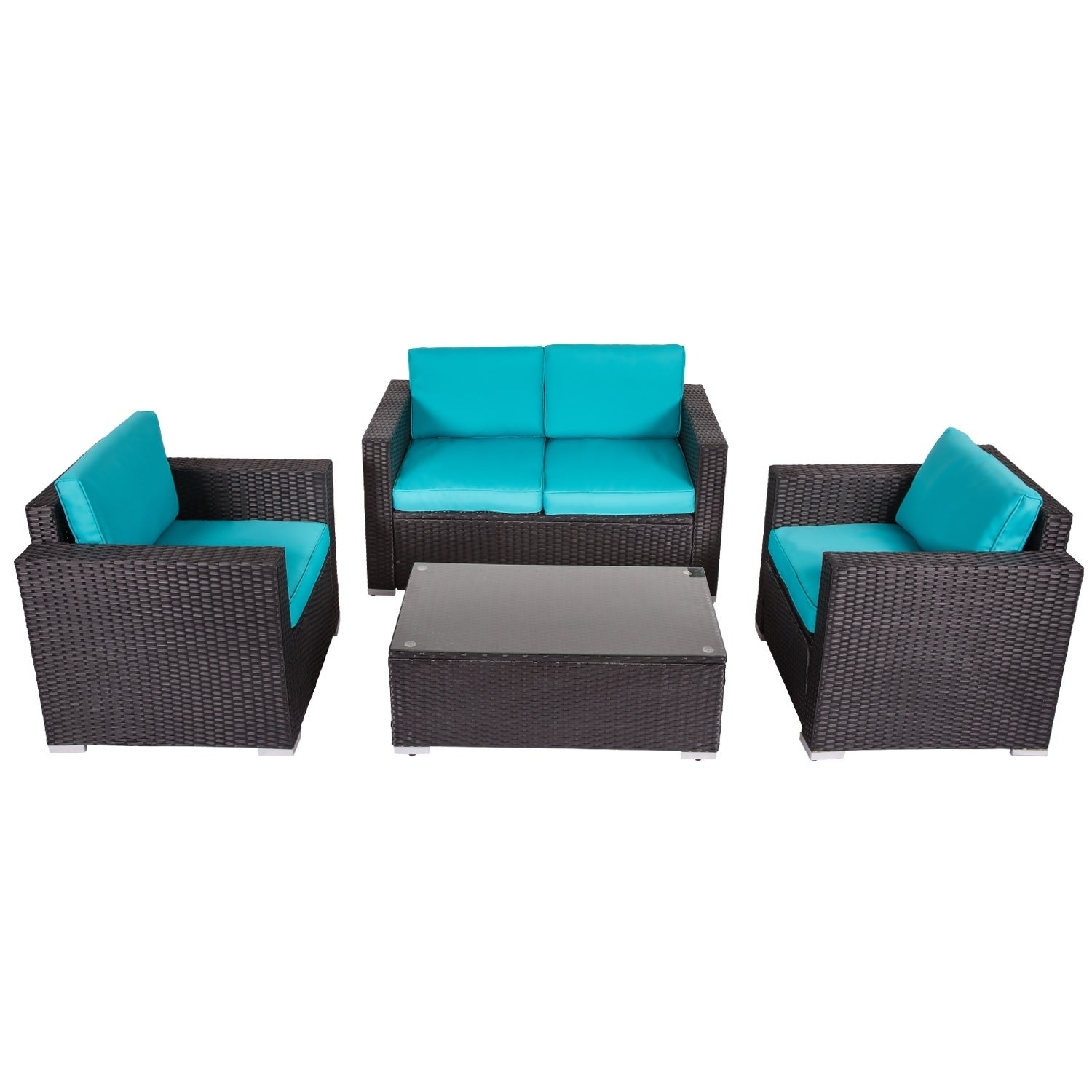 Shop Kinbor 4-piece Outdoor Patio Furniture Set Wicker Chat Set ...