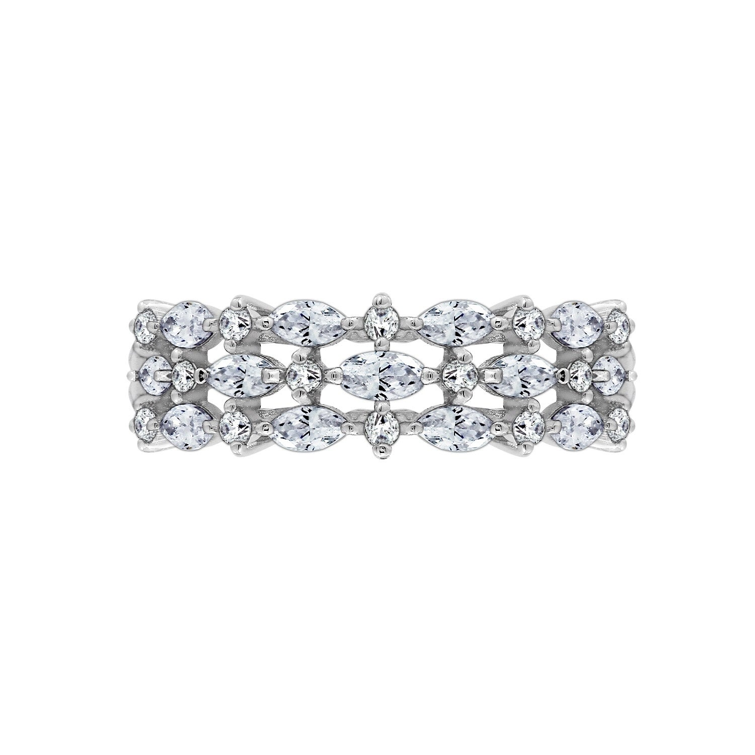 245c97705526a Platinum Plated Sterling Silver Swarovski Zirconia 1.55 ct. Three-Row  Marquise Ring