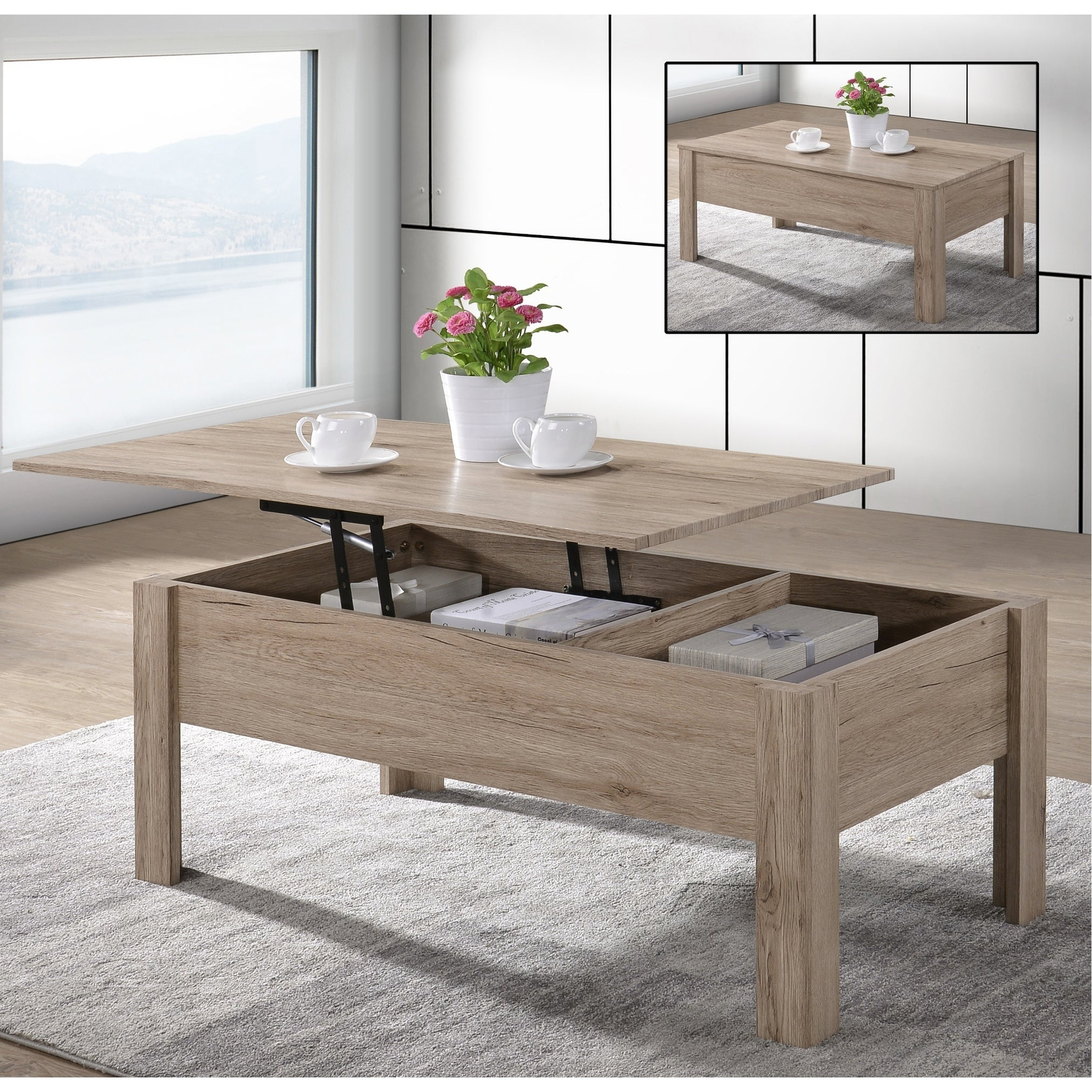 Emily light oak finish lift top coffee table with storage 21 65 x 43 31 x 17 72
