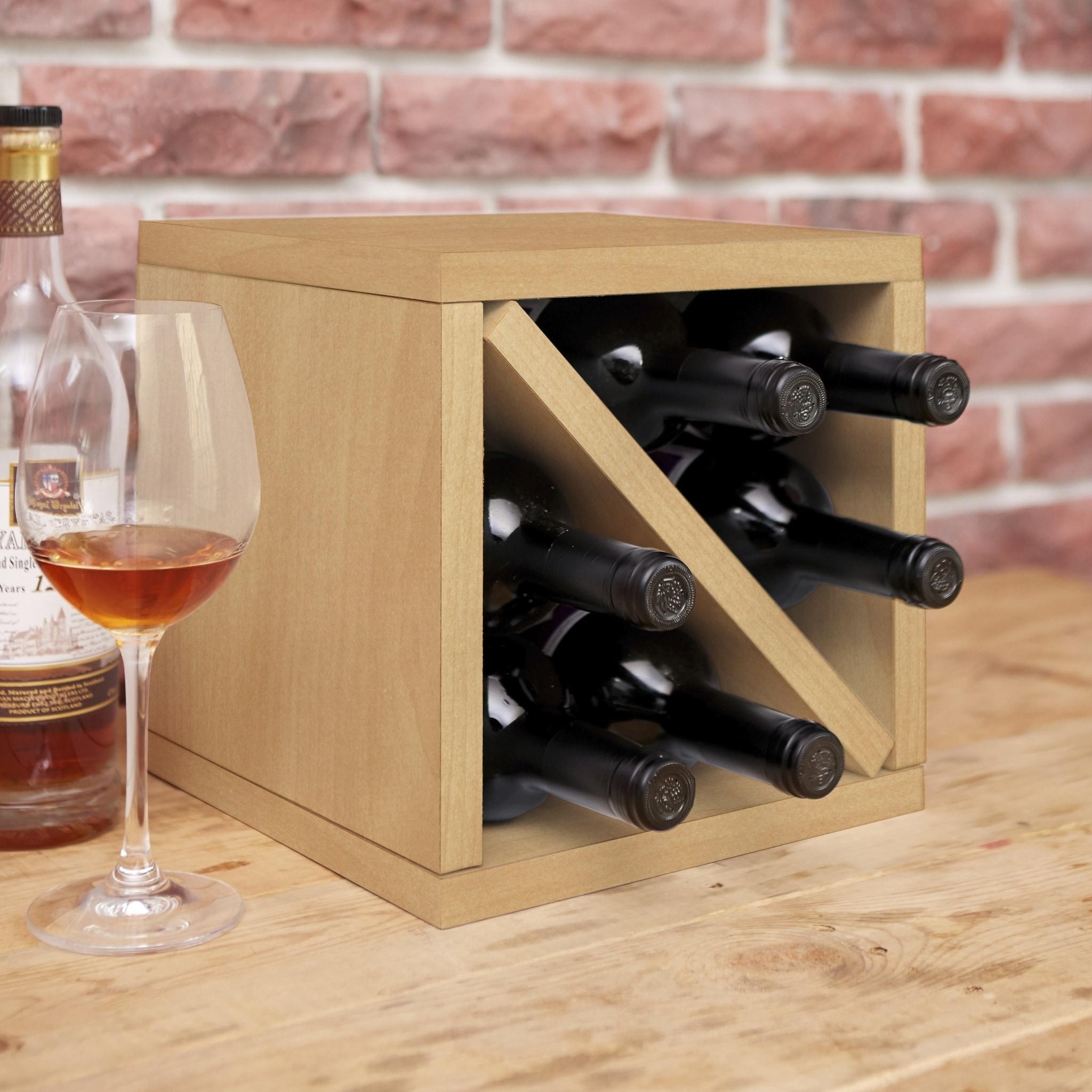 Way Basics Eco 6 Bottle Wine Rack Cube Storage Natural Lifetime Guarantee