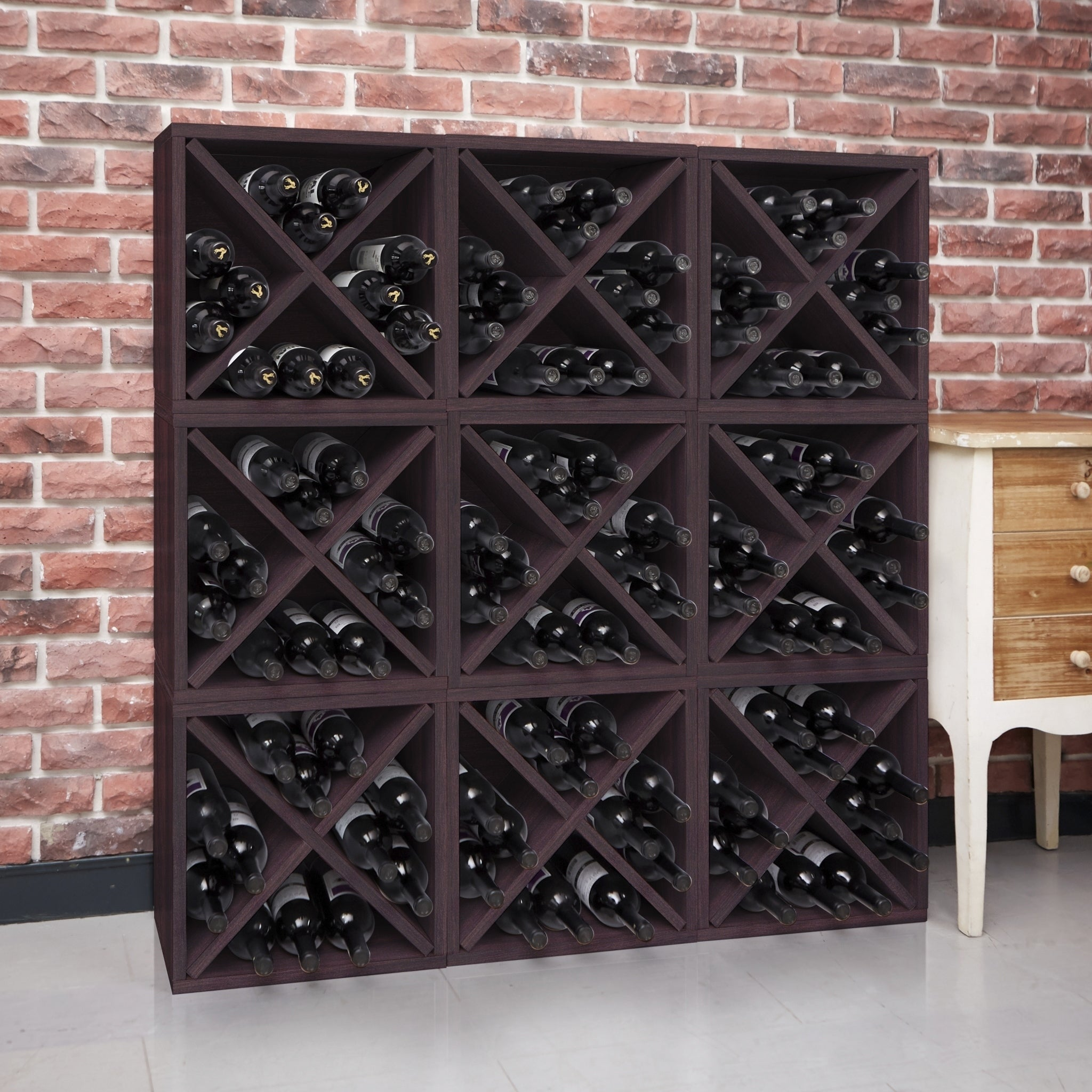 Way Basics Eco Stackable 12 Bottle Wine Rack Cube Storage, Espresso  LIFETIME GUARANTEE