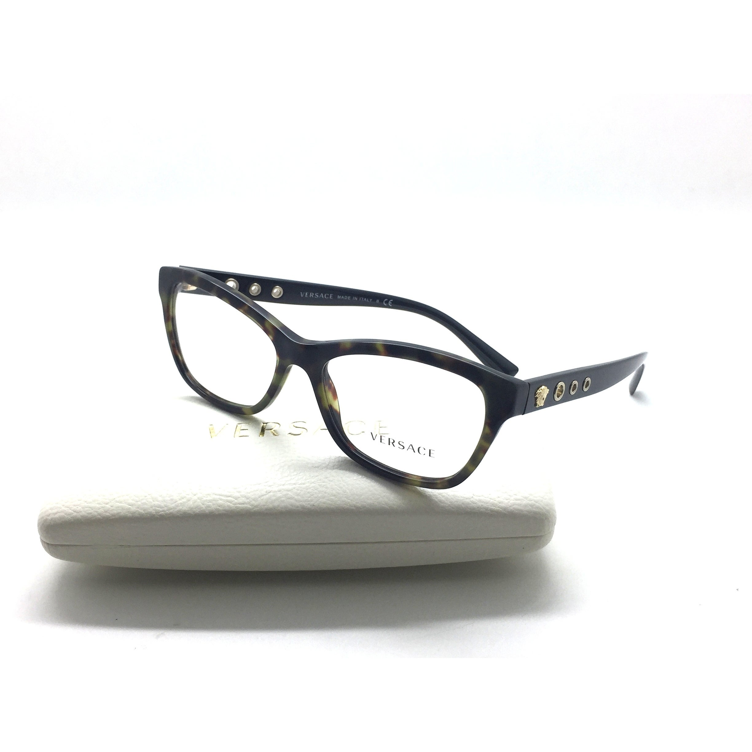 5b8cb050ccbb Shop Versace Military MOD 3225-A 5183 Green Havana Authentic Eyeglasses  54mm - Free Shipping Today - Overstock.com - 22873129