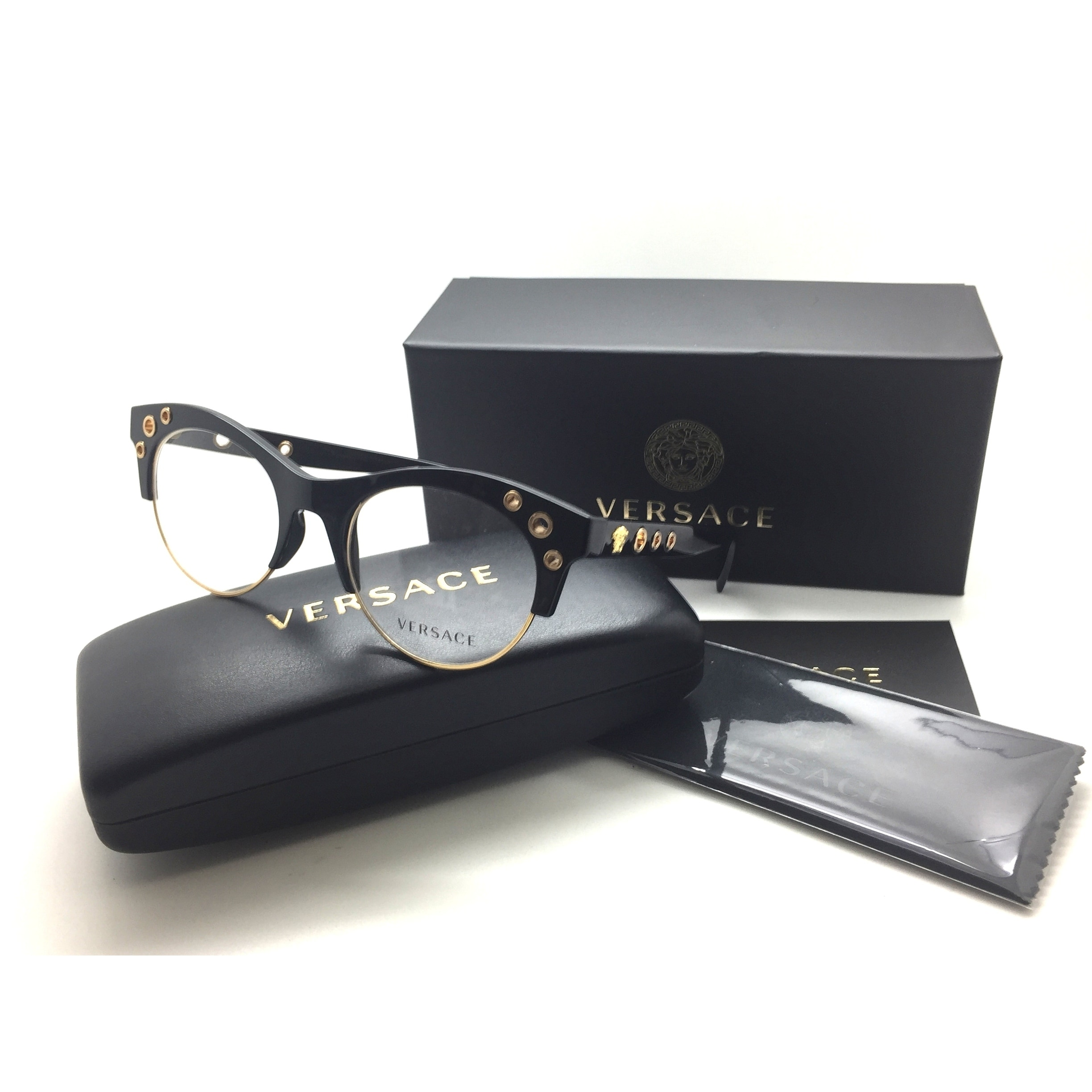 f8279297393 Shop VERSACE Eyeglasses MOD. 3232 GB1 52-20 140 Black   Gold Cat Eye Frames  - Free Shipping Today - Overstock - 22873178