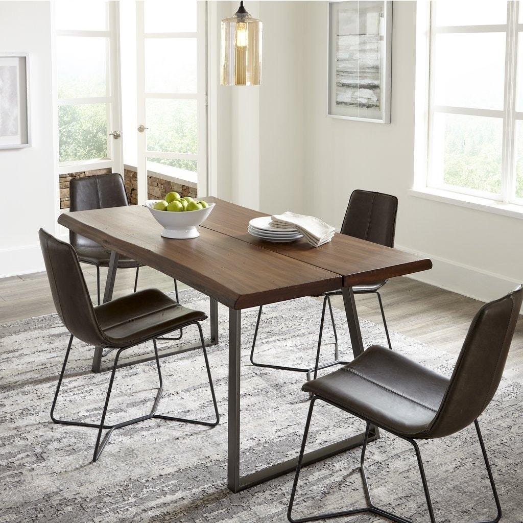 Grain Wood Furniture Live Edge Dining Table Light Oak 63x36x30