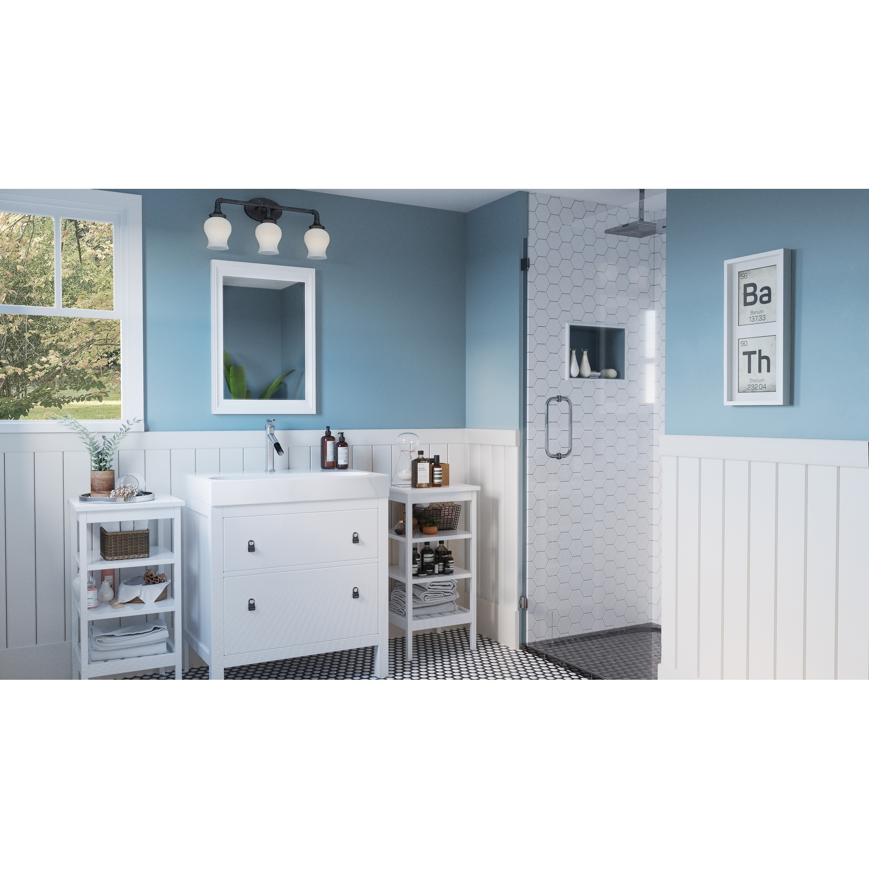 Shop Coro Brushed Nickel 3-light Opal Etched Glass Bathroom Vanity ...