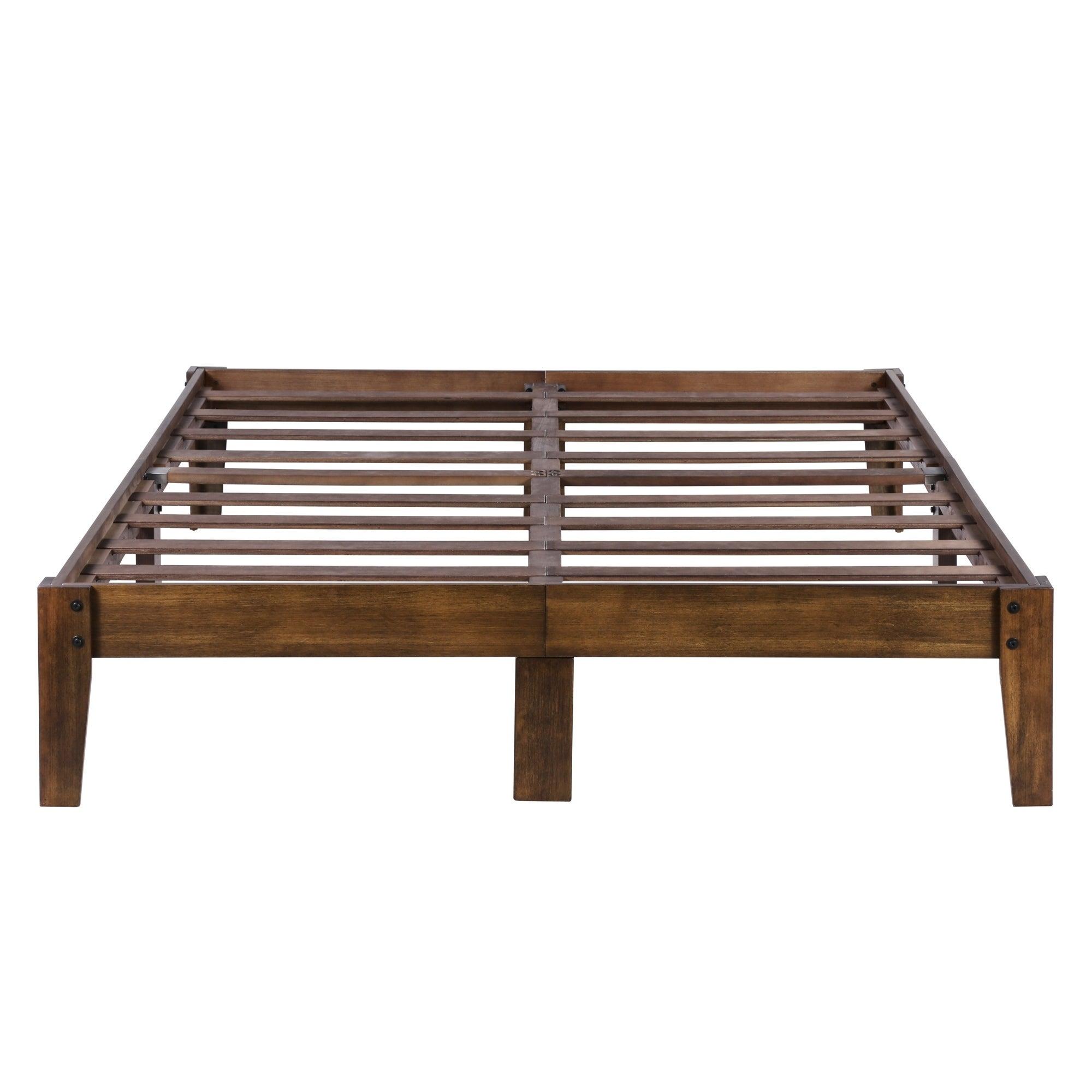Shop Sleeplanner 14 inch Natural Smart Wood Bed Frame (Full) - On ...