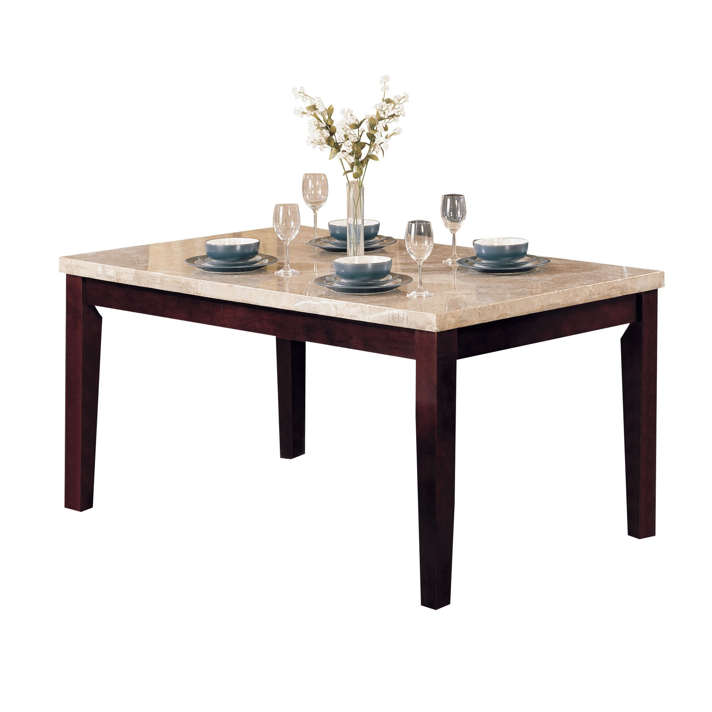 Rectangular Wooden Dining Table With Beige Marble Top Walnut Brown Overstock 22882197