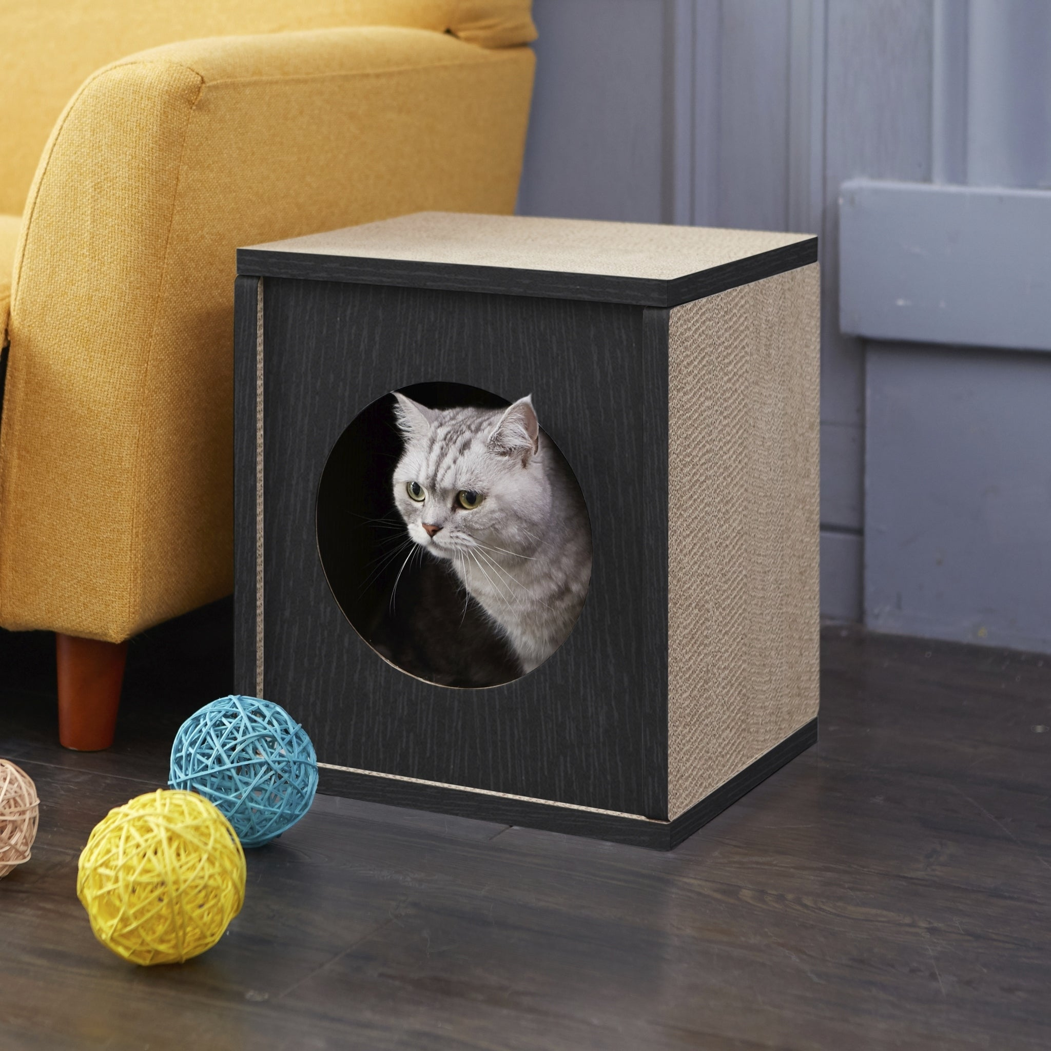 Way Basics Eco Cat Scratcher Cube And House Black Lifetime Guarantee On Free Shipping Orders Over 45 22882719