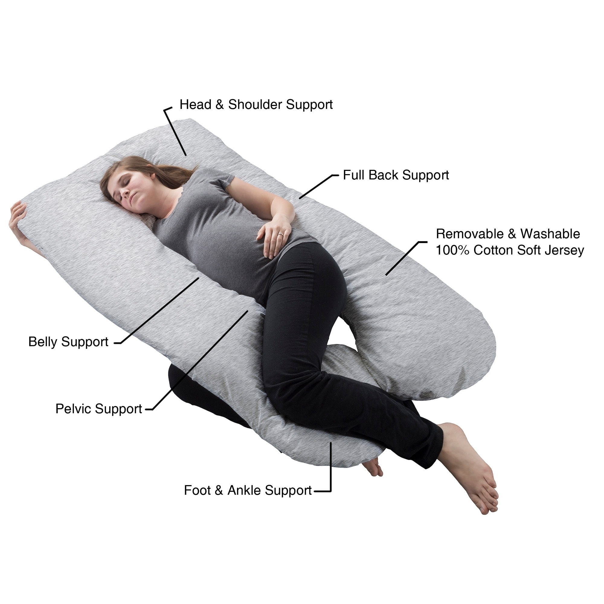 Shop pregnancy pillow full body maternity pillow with removable cover u shape design lavish home collection free shipping today overstock com