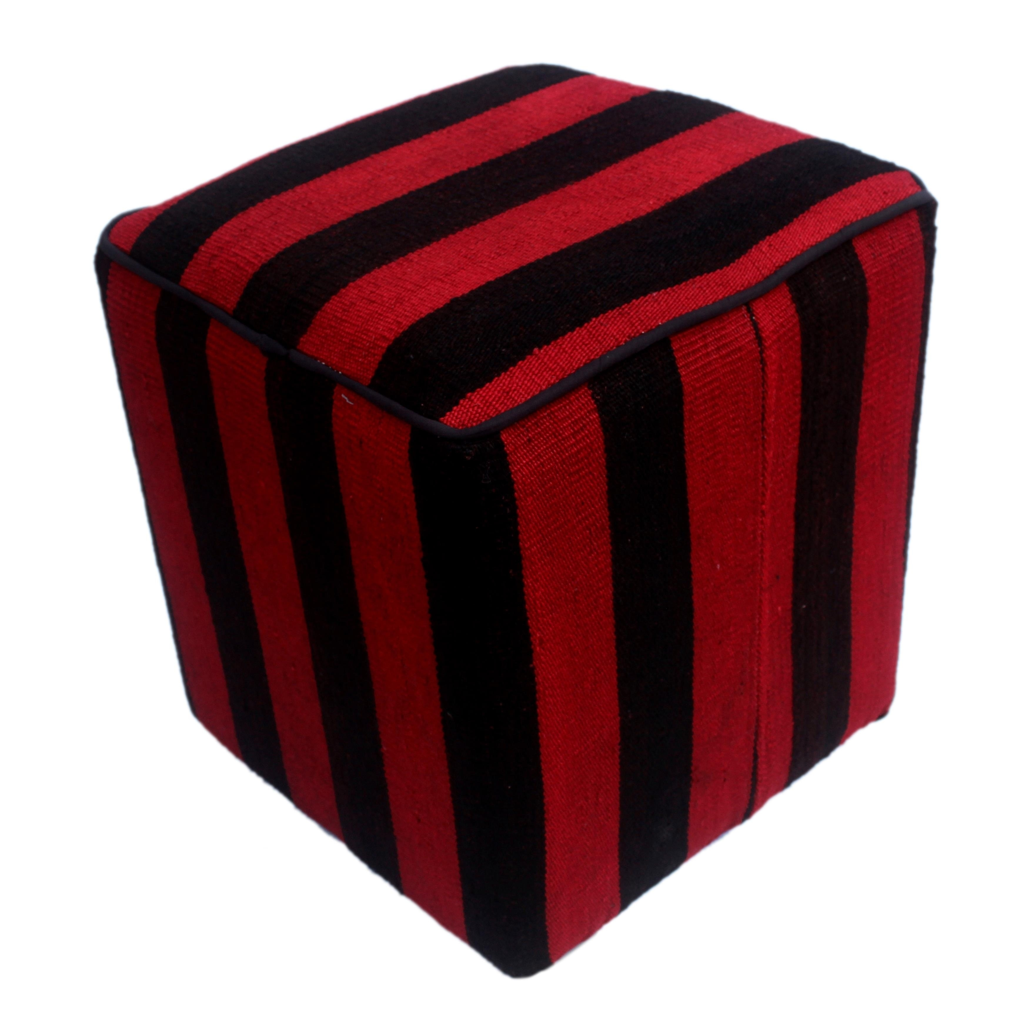 Arshs Dona Handmade Red Black Wool Kilim Upholstered Ottoman On Free Shipping Today 22883559