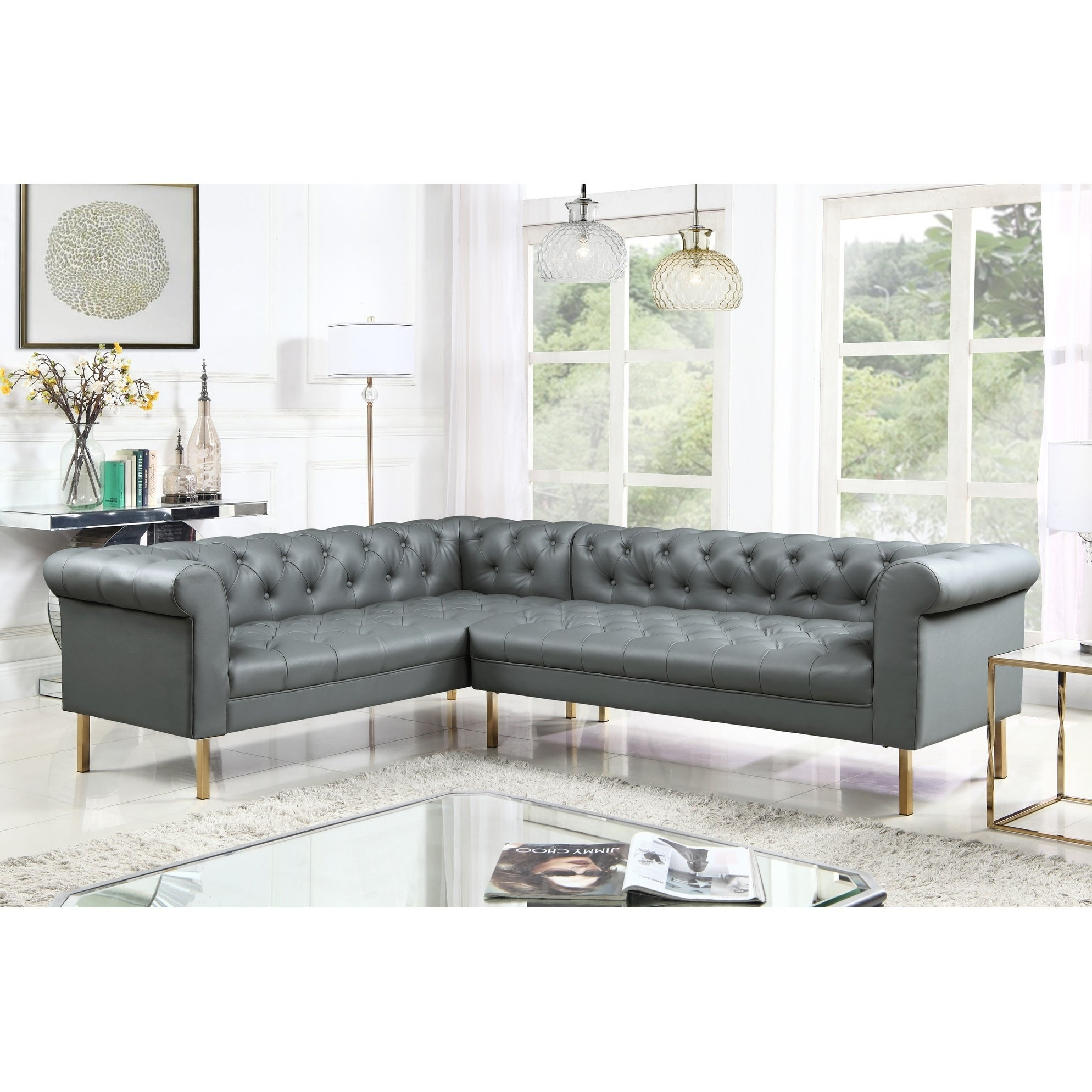 Chic Home Julian Left Facing Sectional Sofa Pu Leather Upholstered On Free Shipping Today 22884401