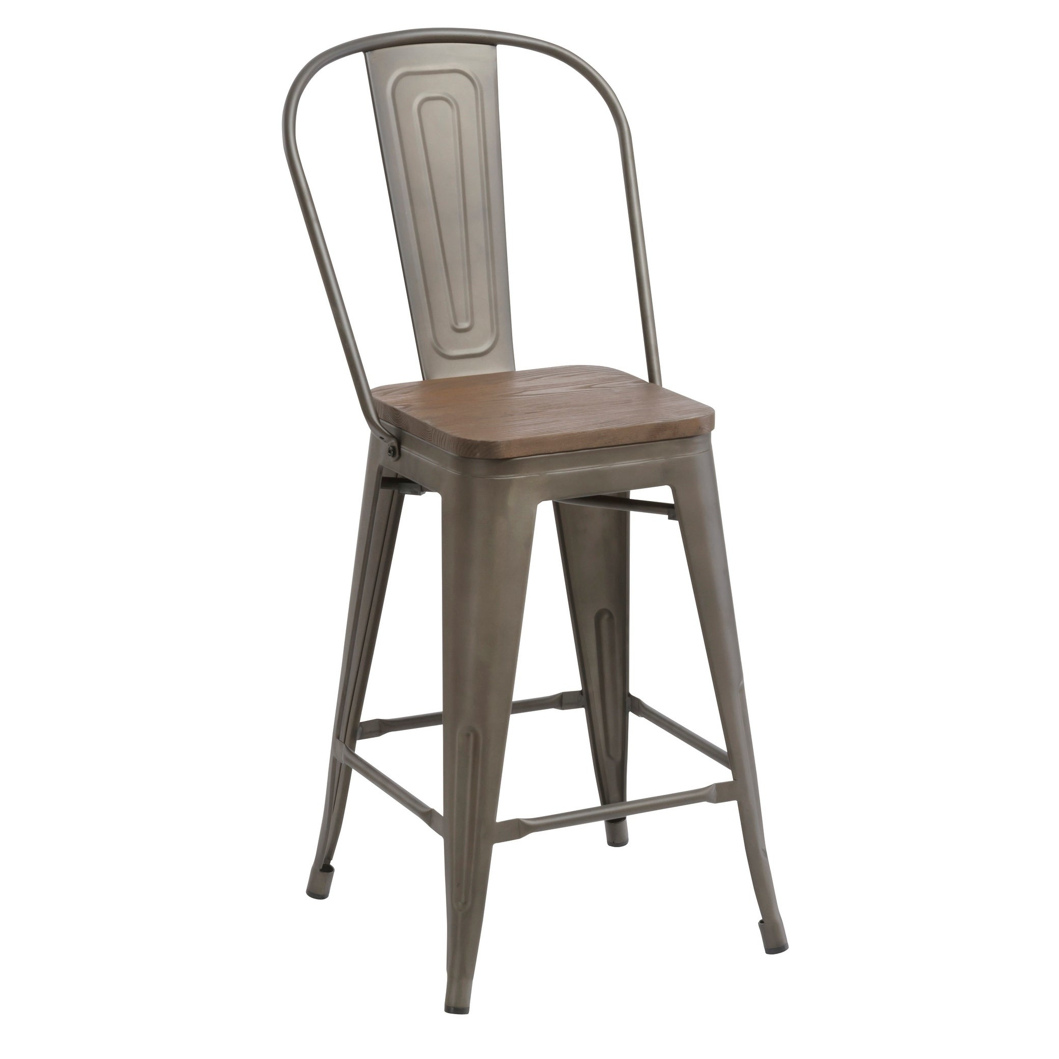 Shop Antique Distressed Rustic Wood 24 High Back Chair Bar Stool