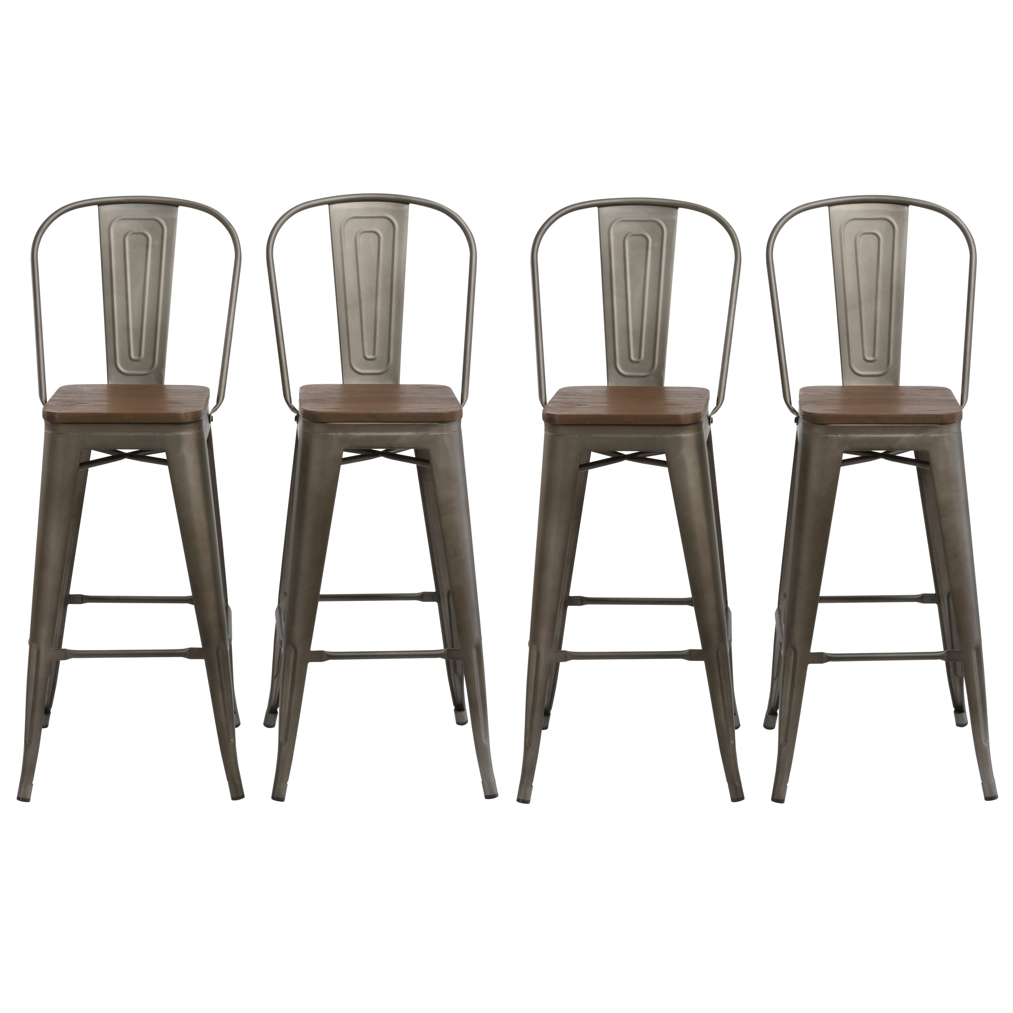 Antique Bronze Distressed Rustic Wood 30 High Back Chair Bar Stool Set Of 4 Barstools