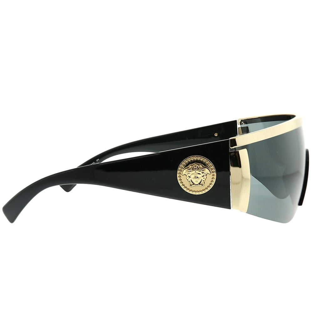 b4fbcb13637e4 Shop Versace Shield VE 2197 100087 Unisex Gold Frame Grey Lens Sunglasses -  Free Shipping Today - Overstock - 22886862