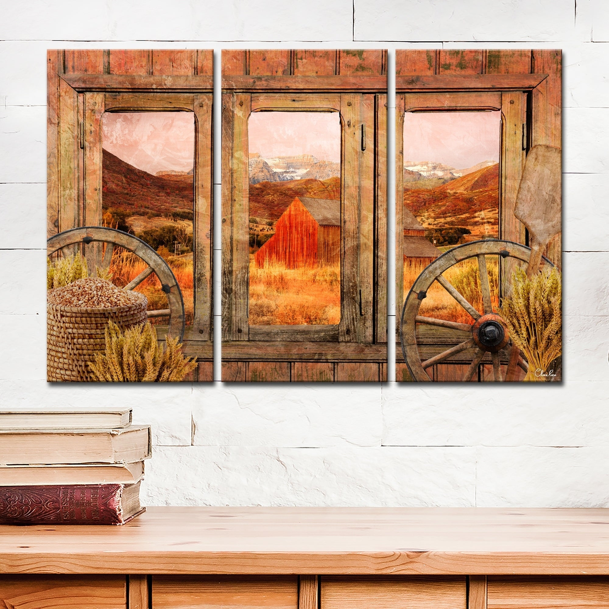 Shop Ready2hangart Rustic Farmhouse 3 Piece Wrapped Canvas Wall