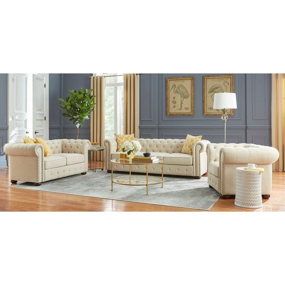 Shop Simple Living Barwick 3 Piece Chesterfield Livingroom Set On