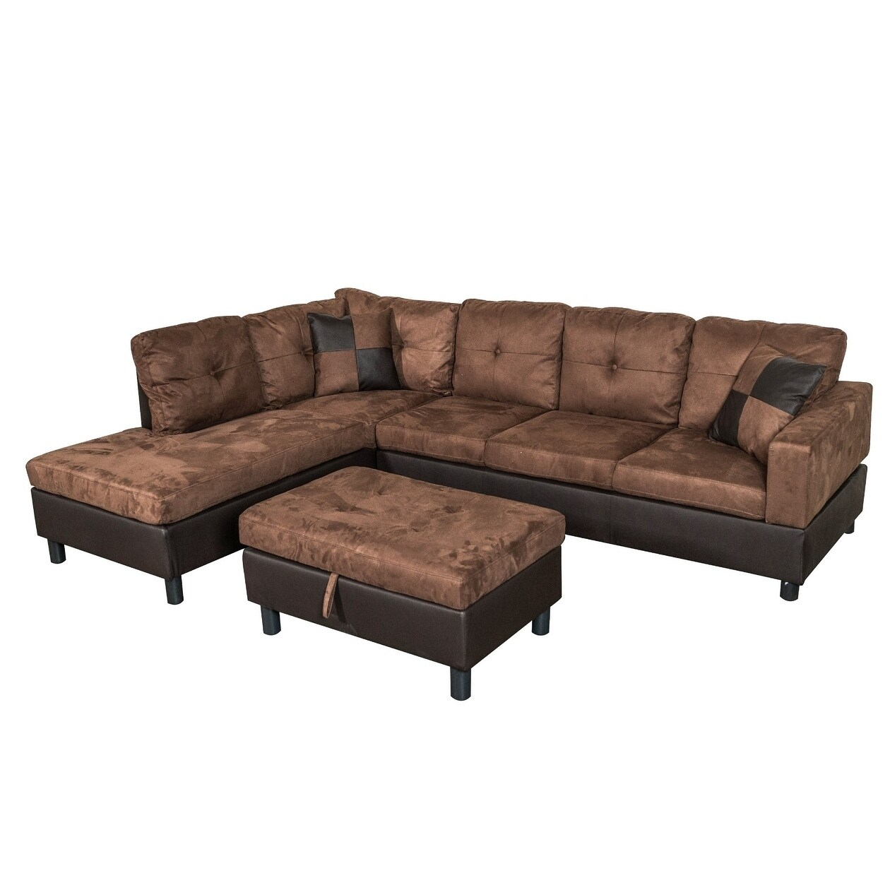 Shop Suede Sectional Sofa with Faux Leather Base and Storage Ottoman ...