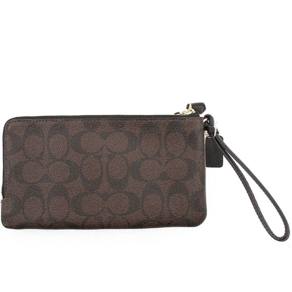 1cc7cb4cdf38 Shop Coach Signature Double Zip Wristlet Wallet 16109 Brown Black - On Sale  - Free Shipping Today - Overstock - 22890700