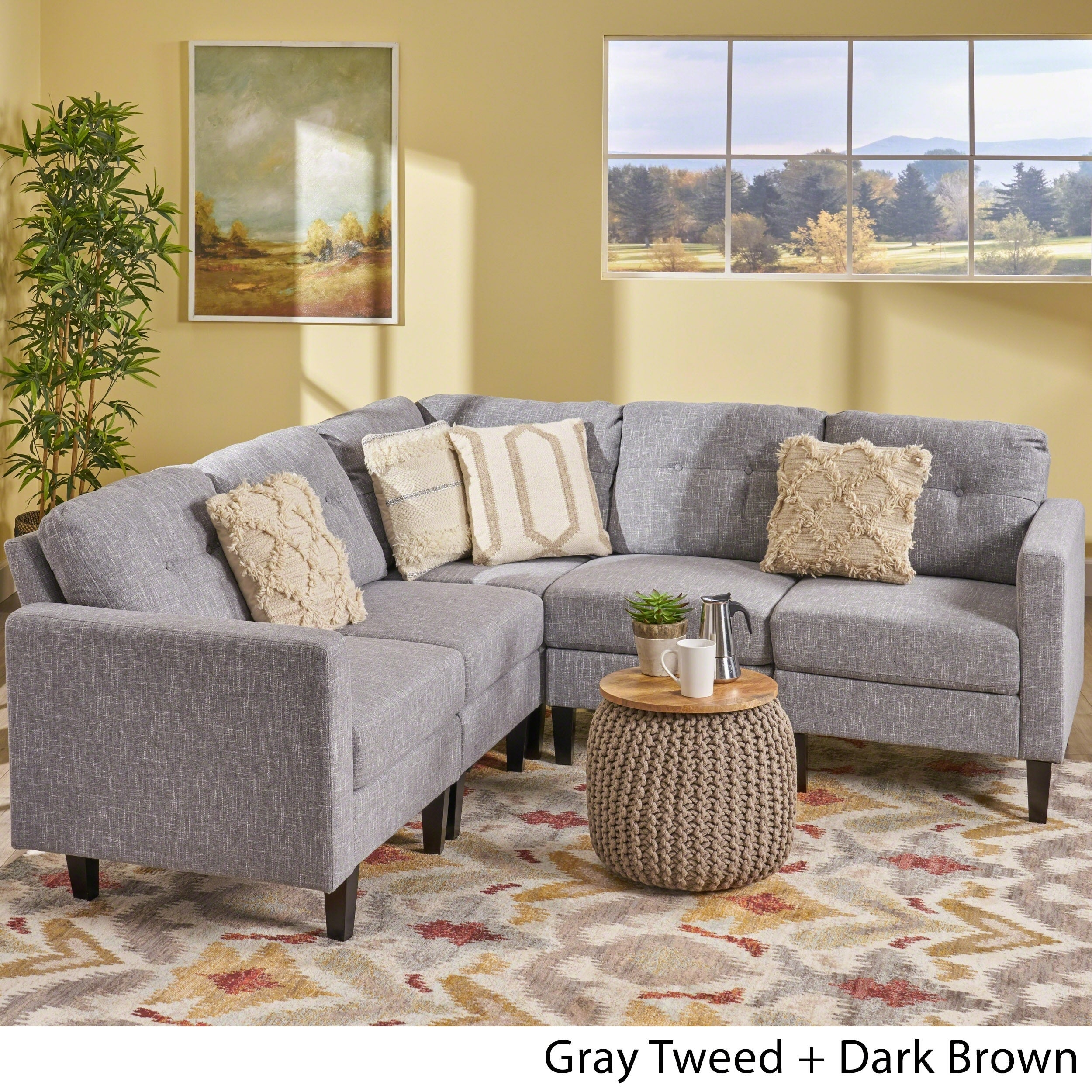 Delilah Mid Century Modern Sectional Sofa Set by Christopher Knight Home