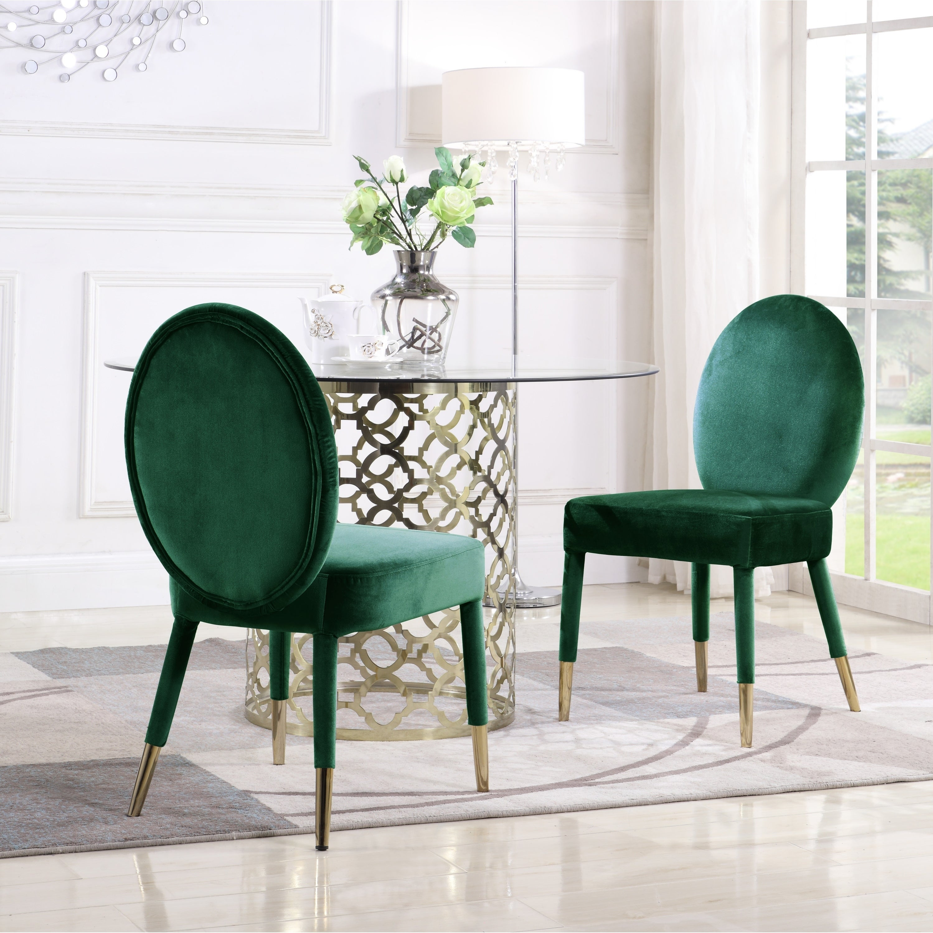 Shop chic home jerett velvet dining chair oval back set of 2 free shipping today overstock com 22897384