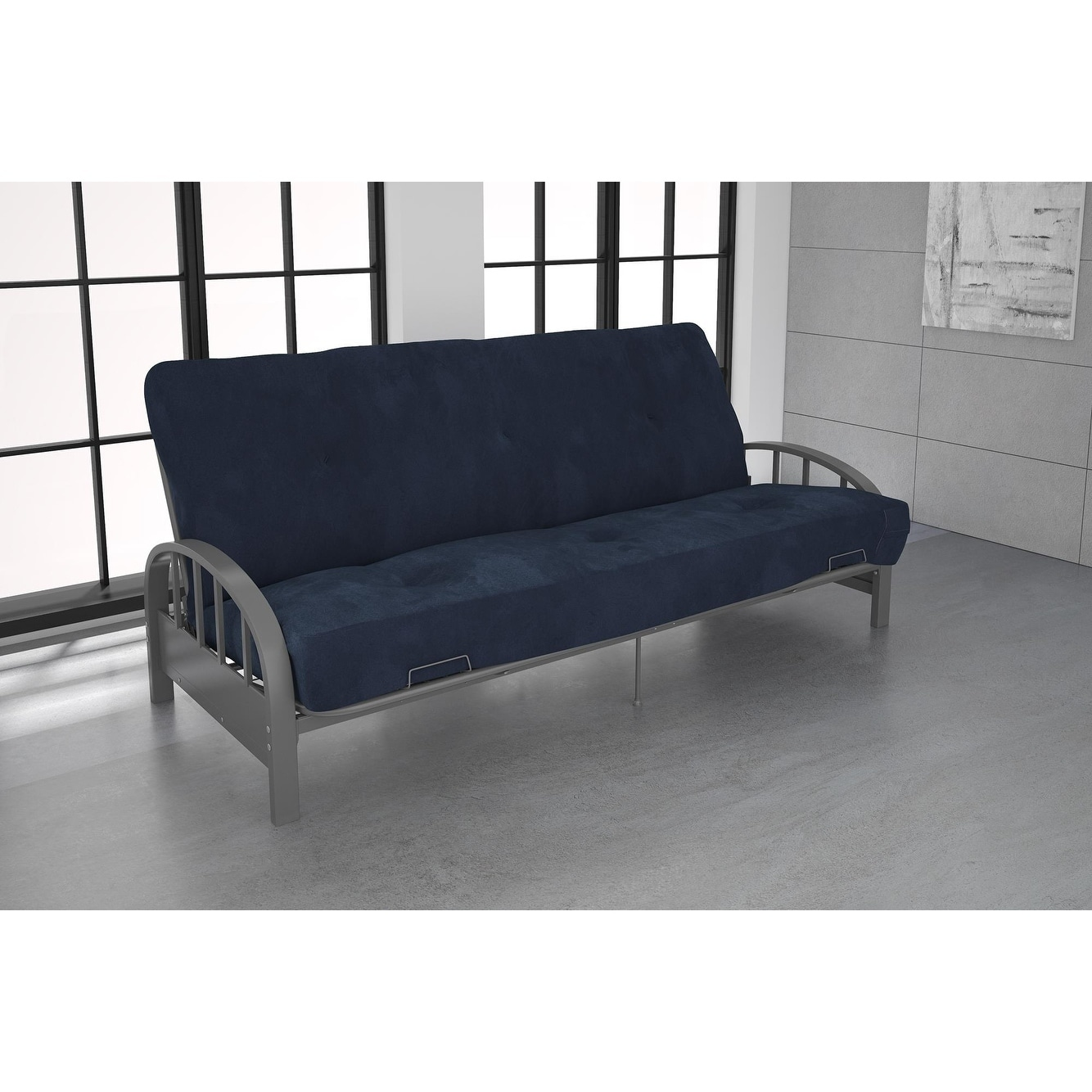 Dhp Aiden Silver Futon Frame And 6 Inch Mattress Set Free Shipping Today Com 22899205