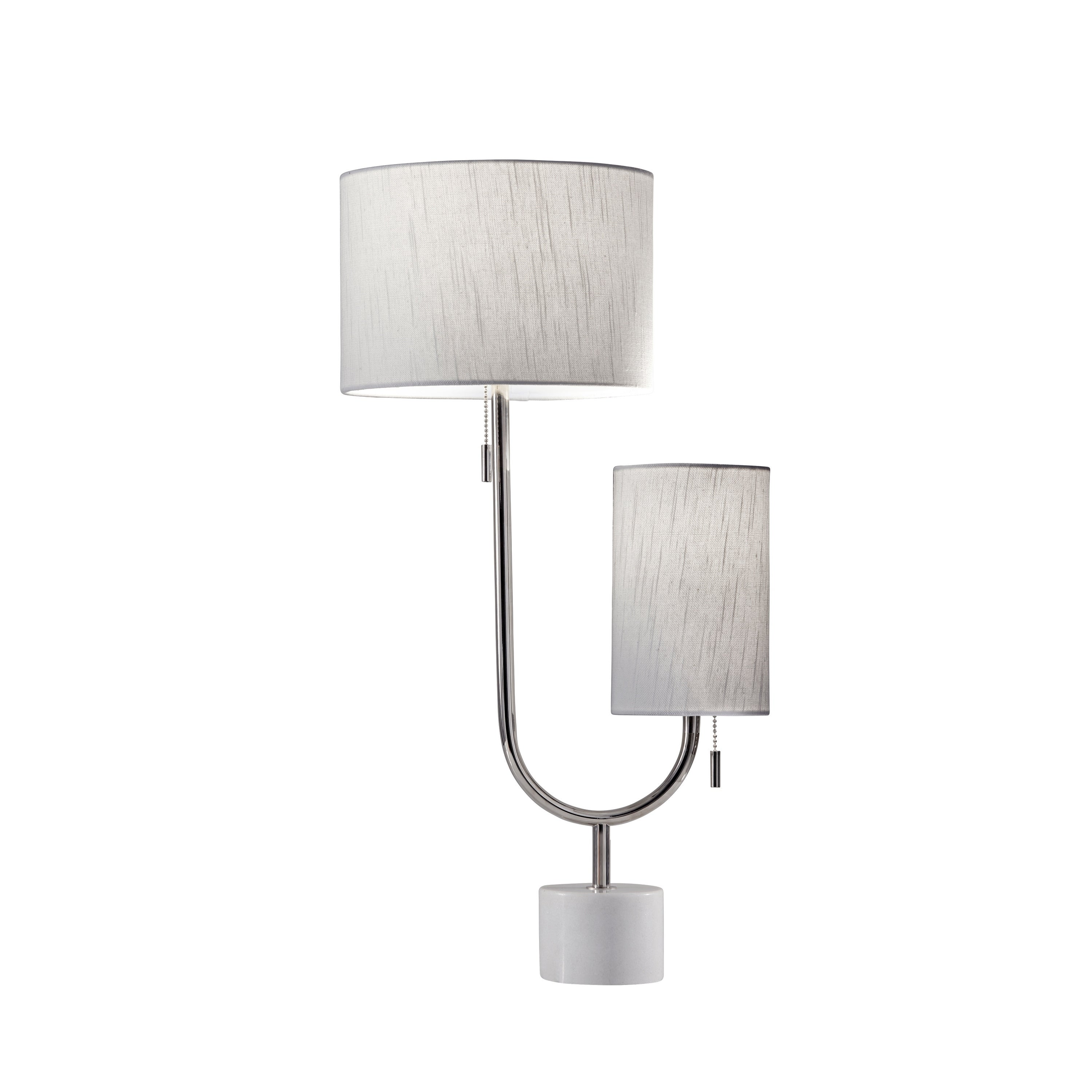 Shop Adesso Sloan Polished Nickel And White Marble Table Lamp
