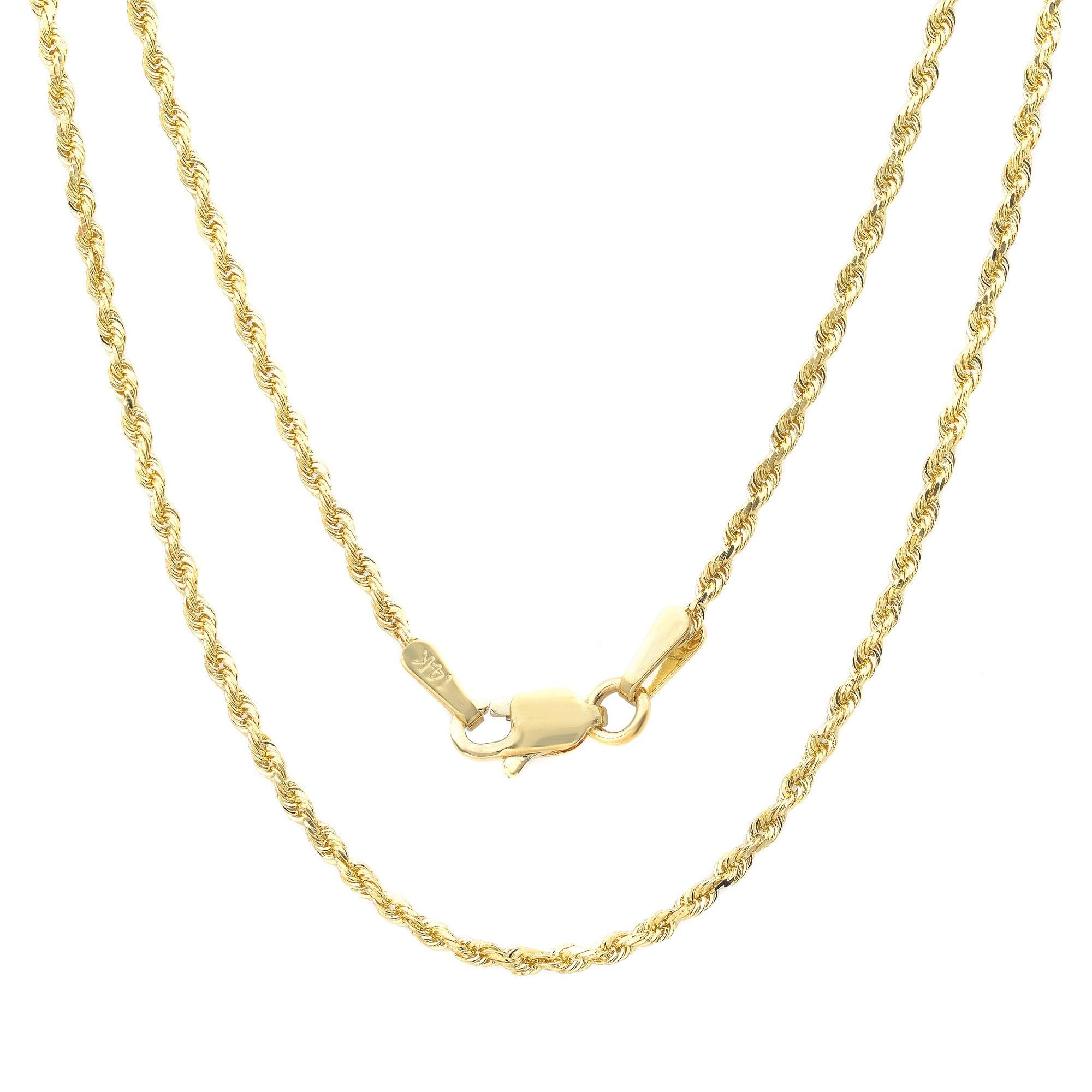 682eabfbe01ae Roberto Martinez 14k Yellow Gold 1.5mm Rope Chain Necklace