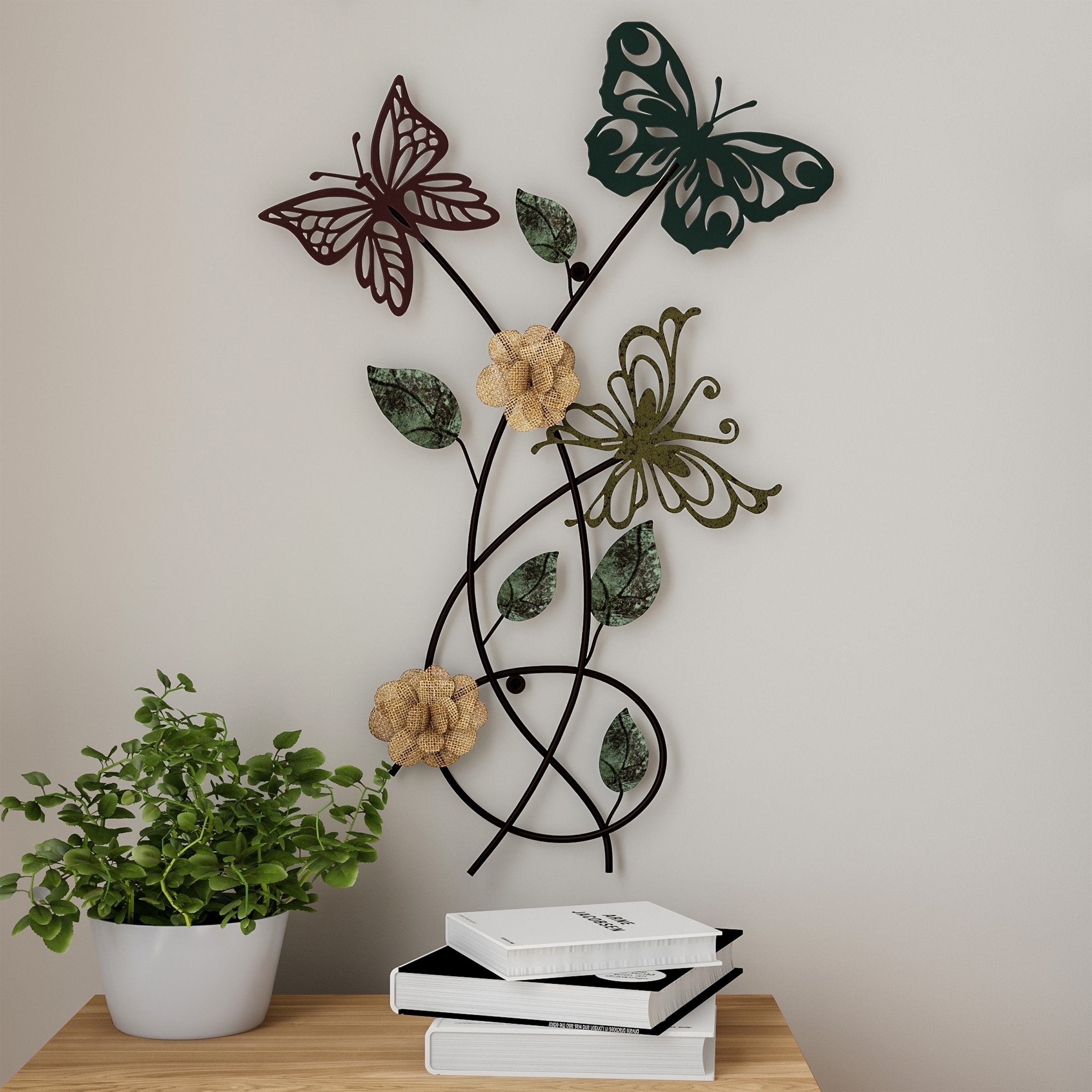 Garden Butterfly Metal Wall Art- Hand Painted Decorative 10D  Butterflies/Flowers for Modern Farmhouse by Lavish Home