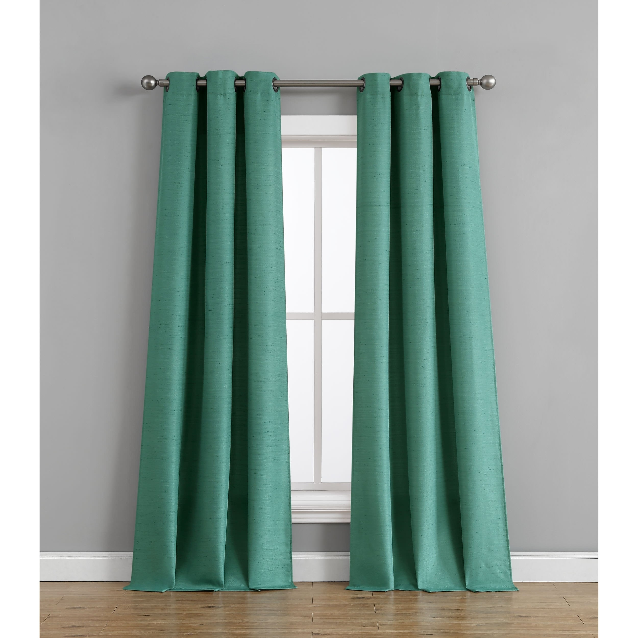 Tribeca Home Raw Faux Silk Grommet Curtain Panel Pair