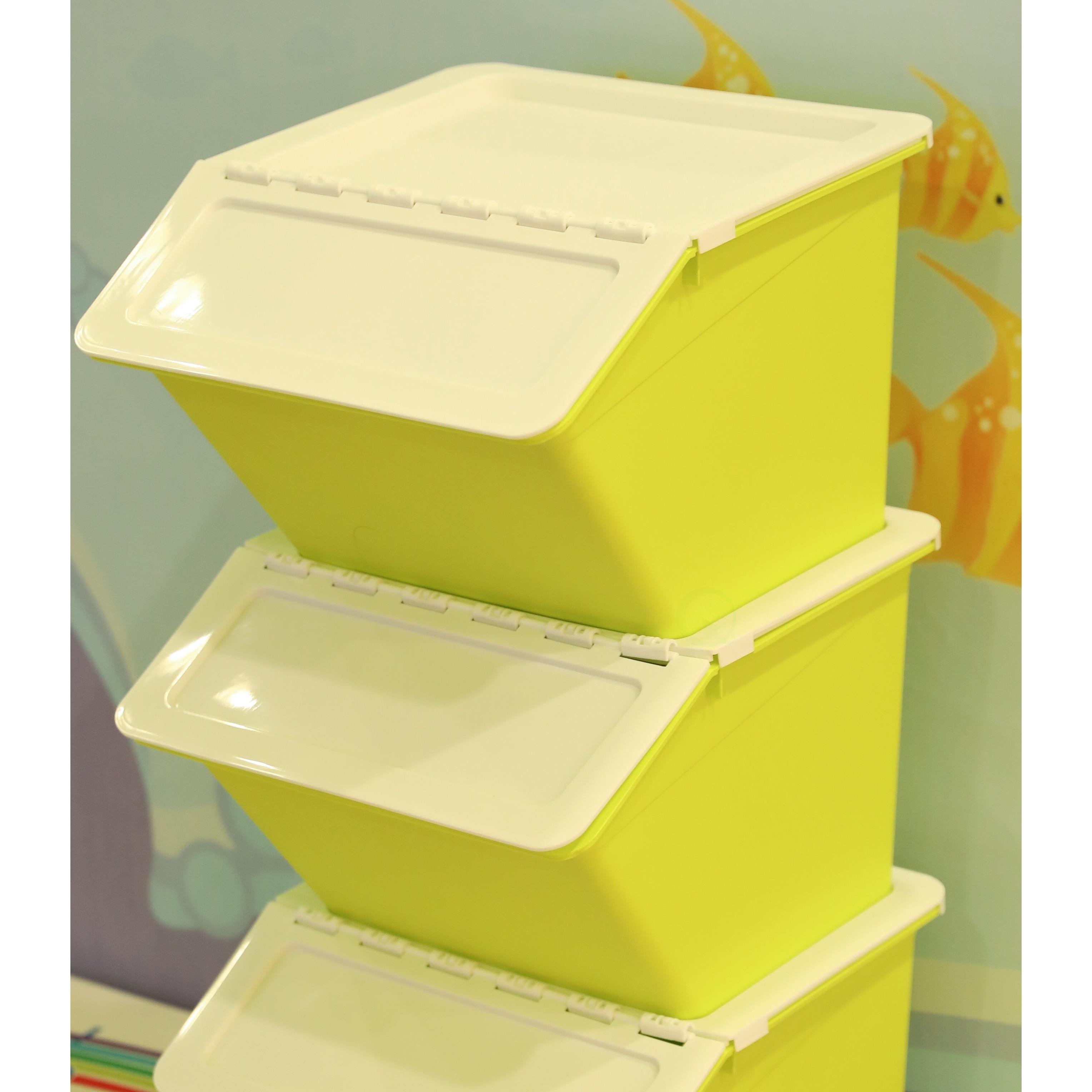 Shop Large Green Plastic Stackable Storage Bins Set Of 3 Free