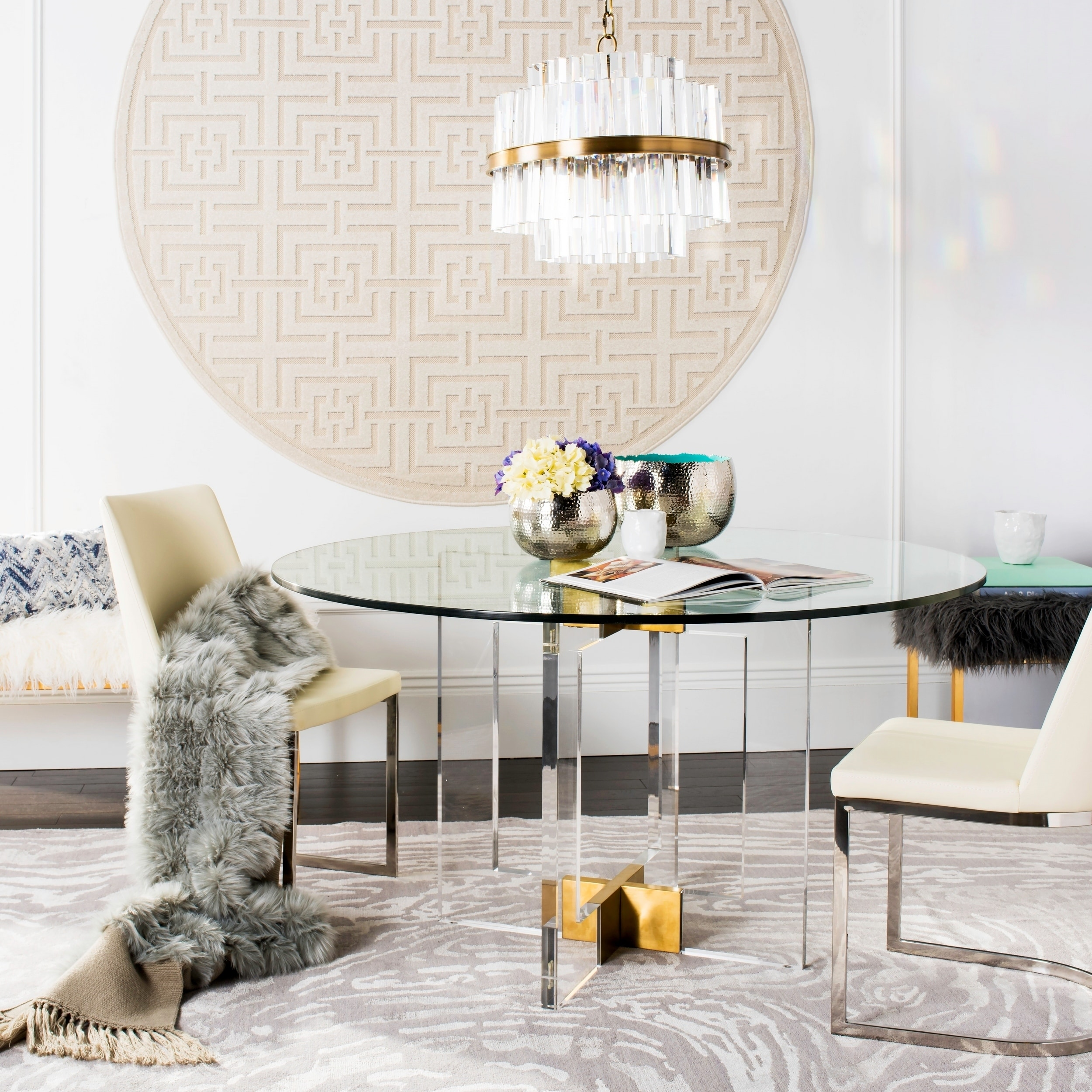 Shop Safavieh Couture Xevera Round Glass Dining Table Clear 53