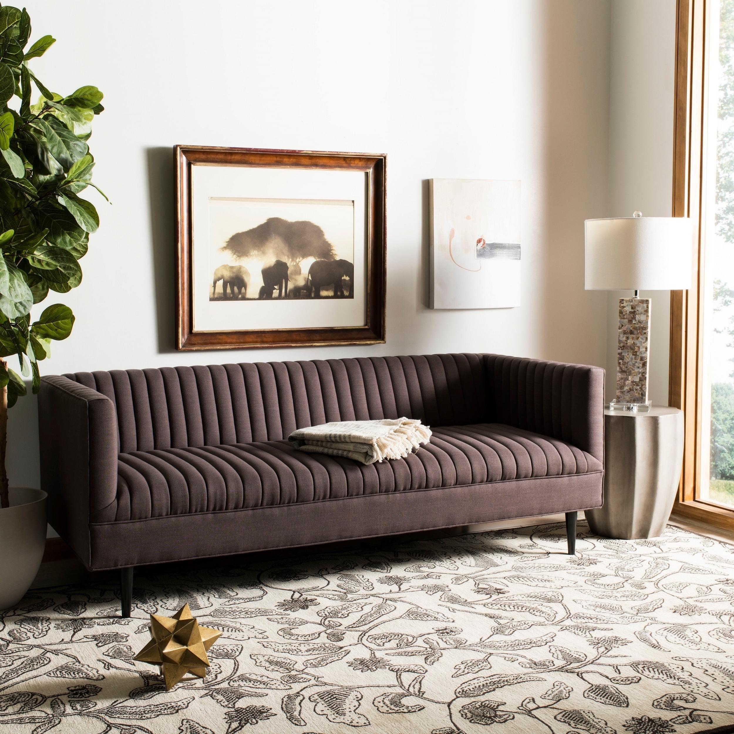 Safavieh couture carmina channeled brown linen sofa