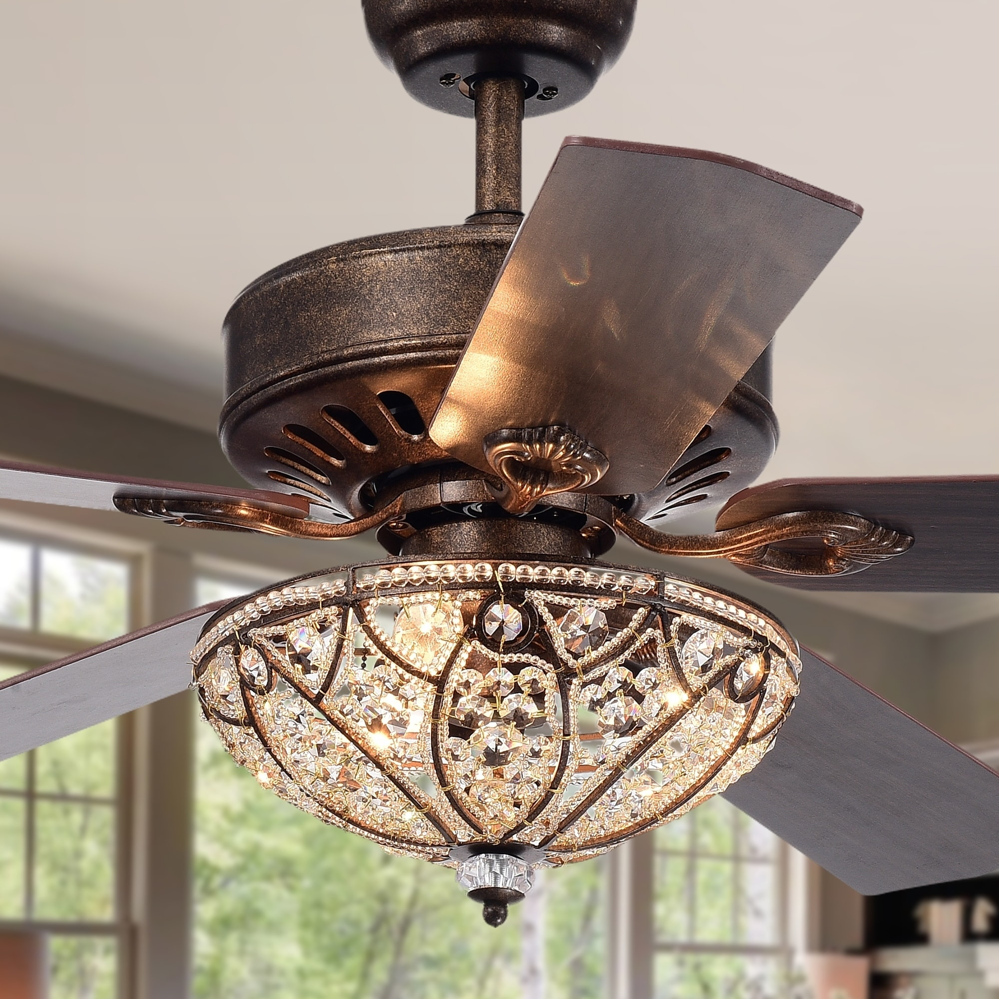 Gliska 52 Inch 5 Blade Rustic Bronze Lighted Ceiling Fans With Crystal Bowl Shade Remote Controlled On Free Shipping Today