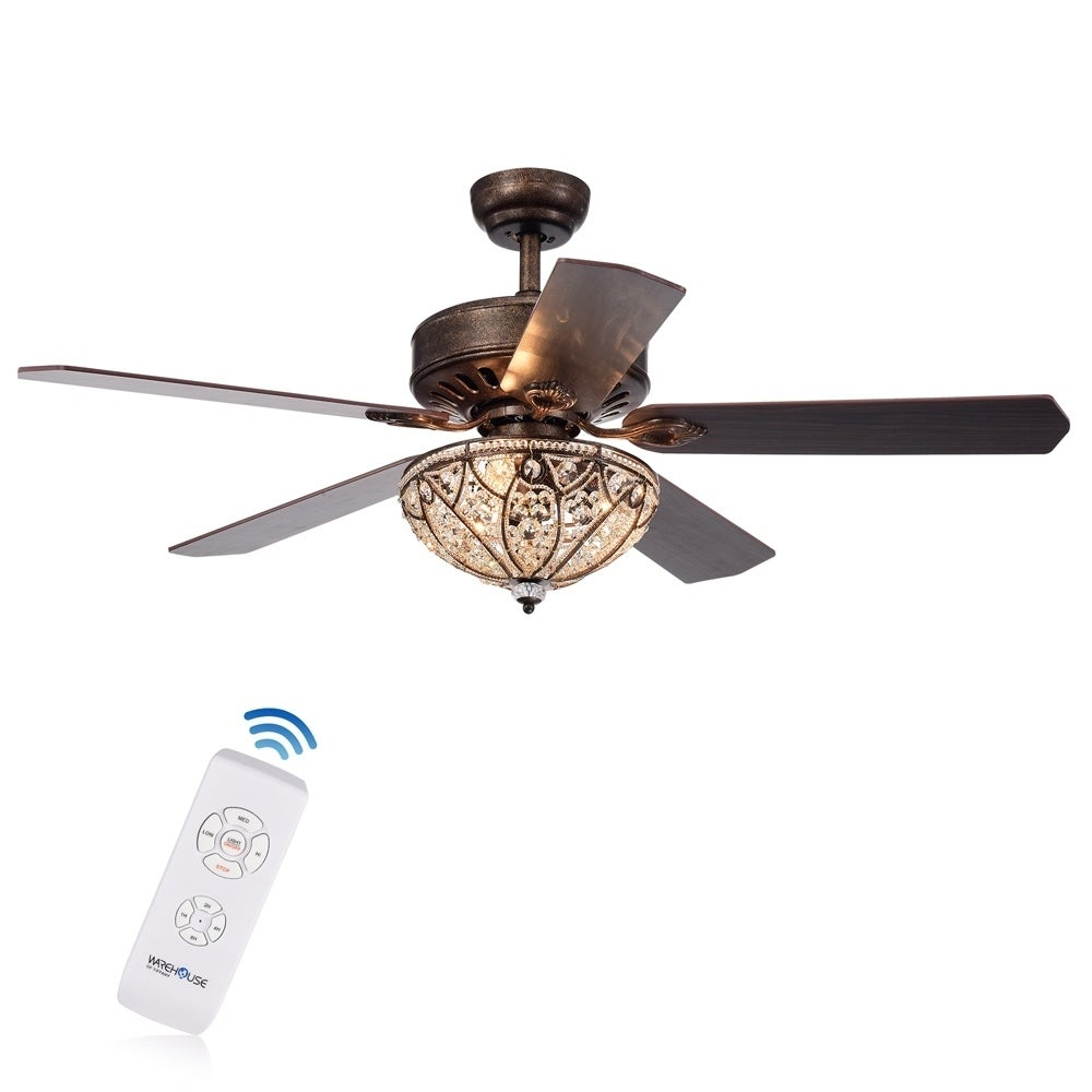 Shop Gliska 52-Inch 5-Blade Rustic Bronze Lighted Ceiling Fans with ...